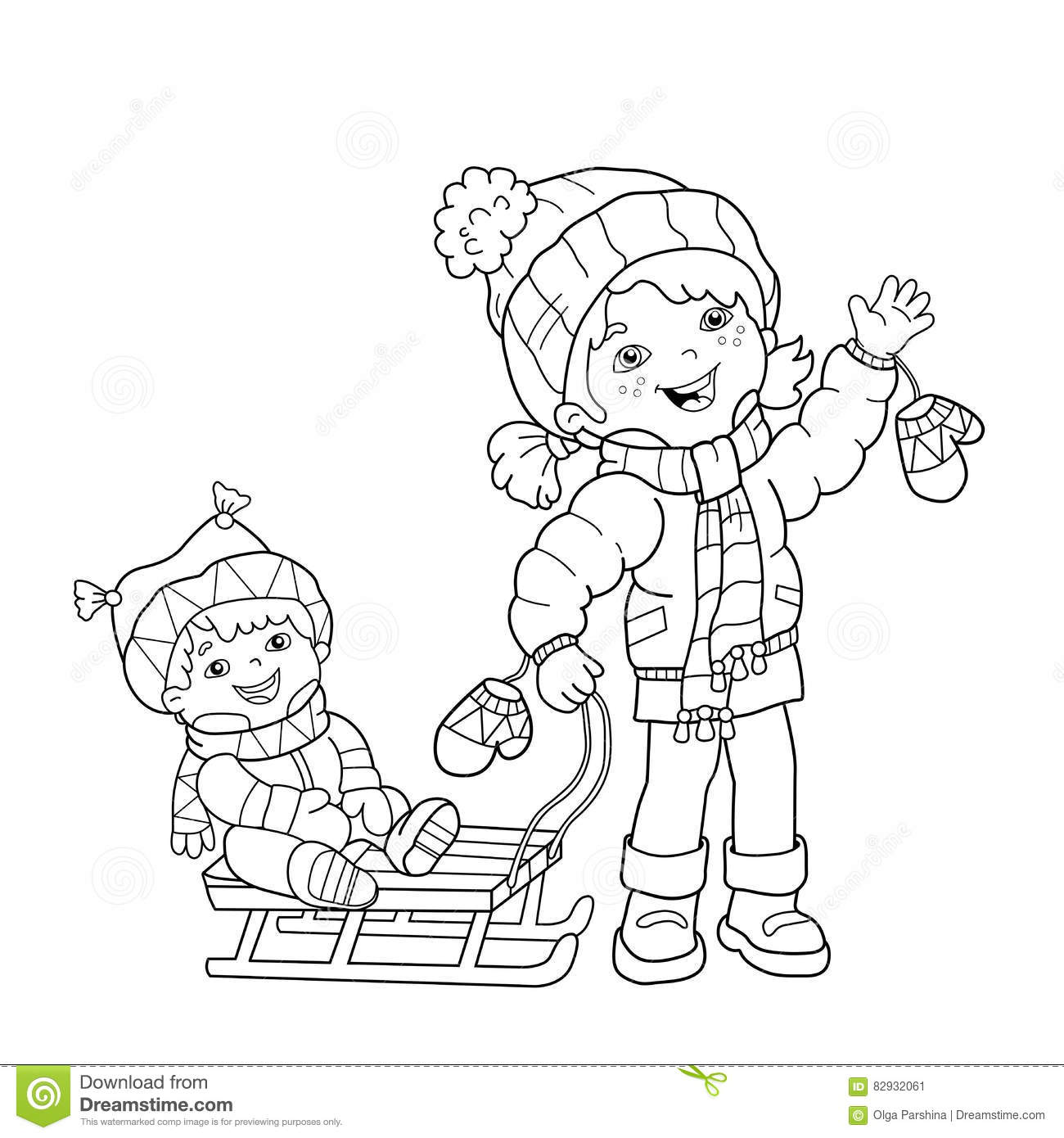 Coloring Page Outline Of Cartoon Girl With Brother