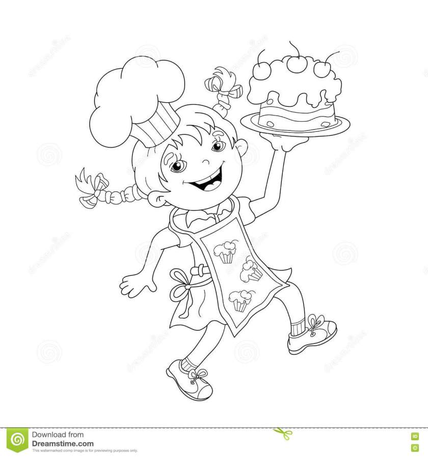 coloring page outline of cartoon girl chef  cake stock