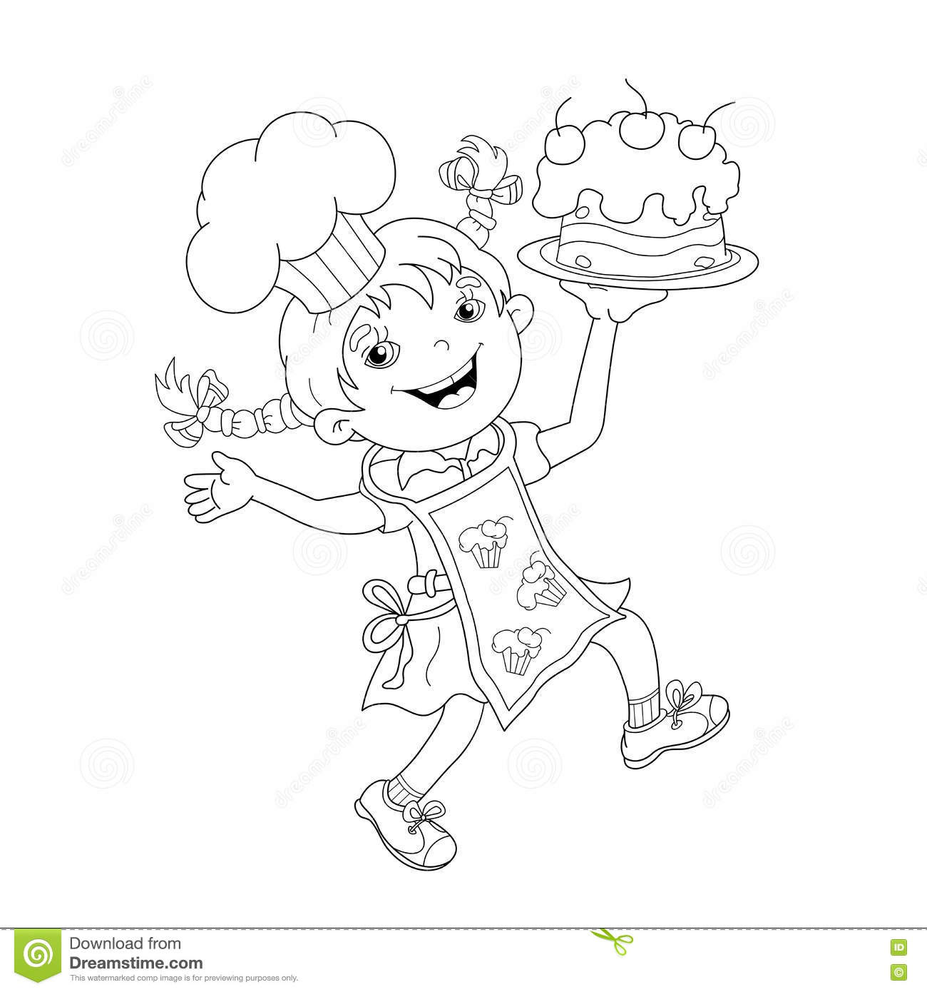 Coloring Page Outline Of Cartoon Girl Chef With Cake Stock