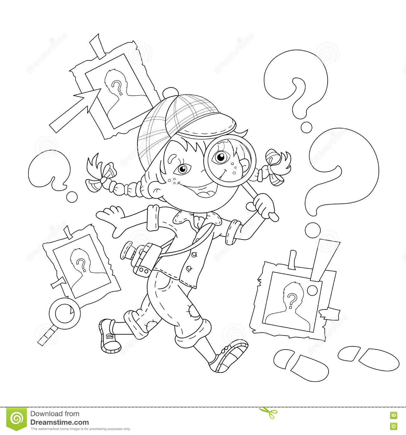 Coloring Page Outline Of Cartoon Girl Detective With Loupe
