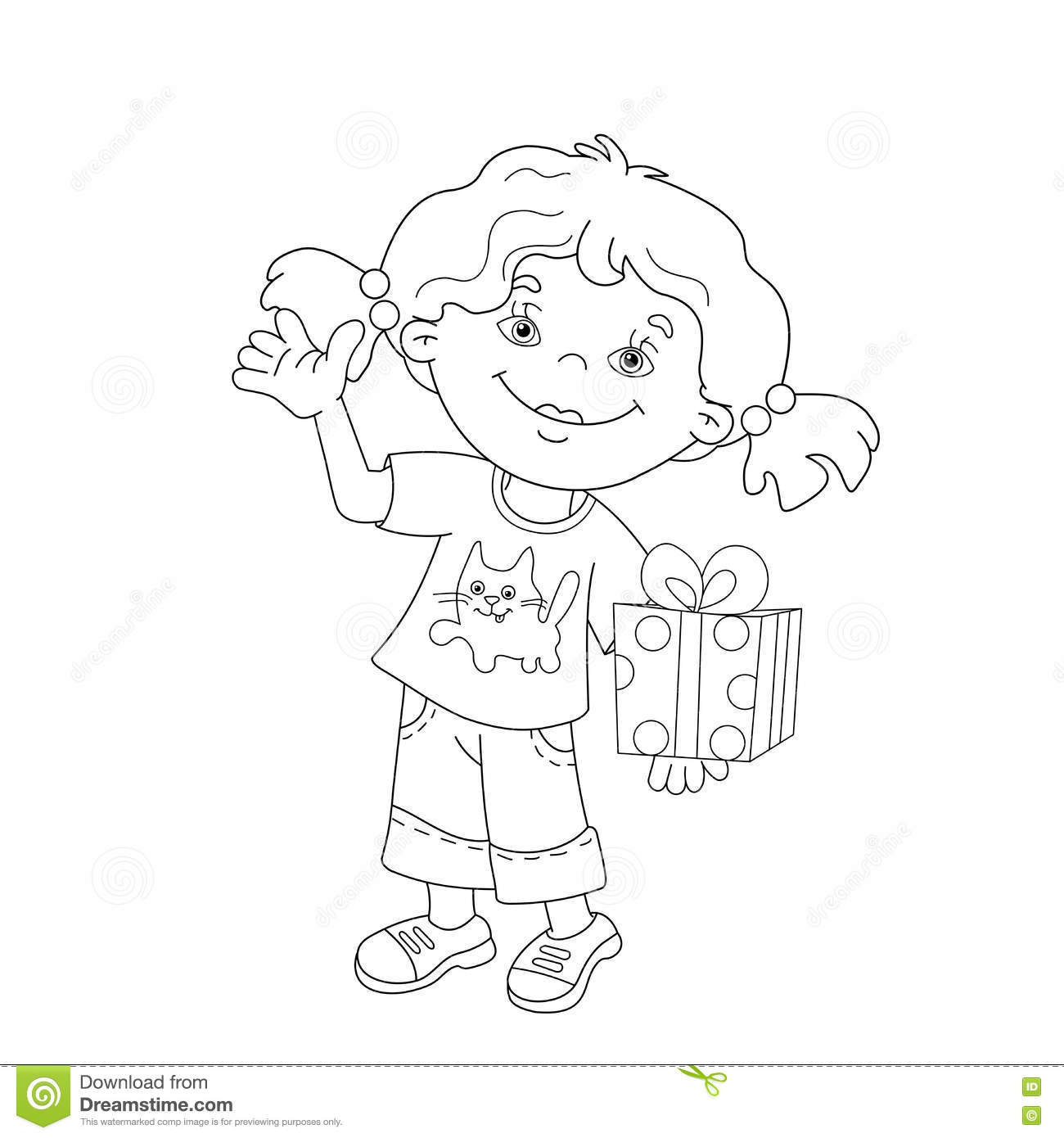 Coloring Page Outline Of Cartoon Girl With A Gift Stock