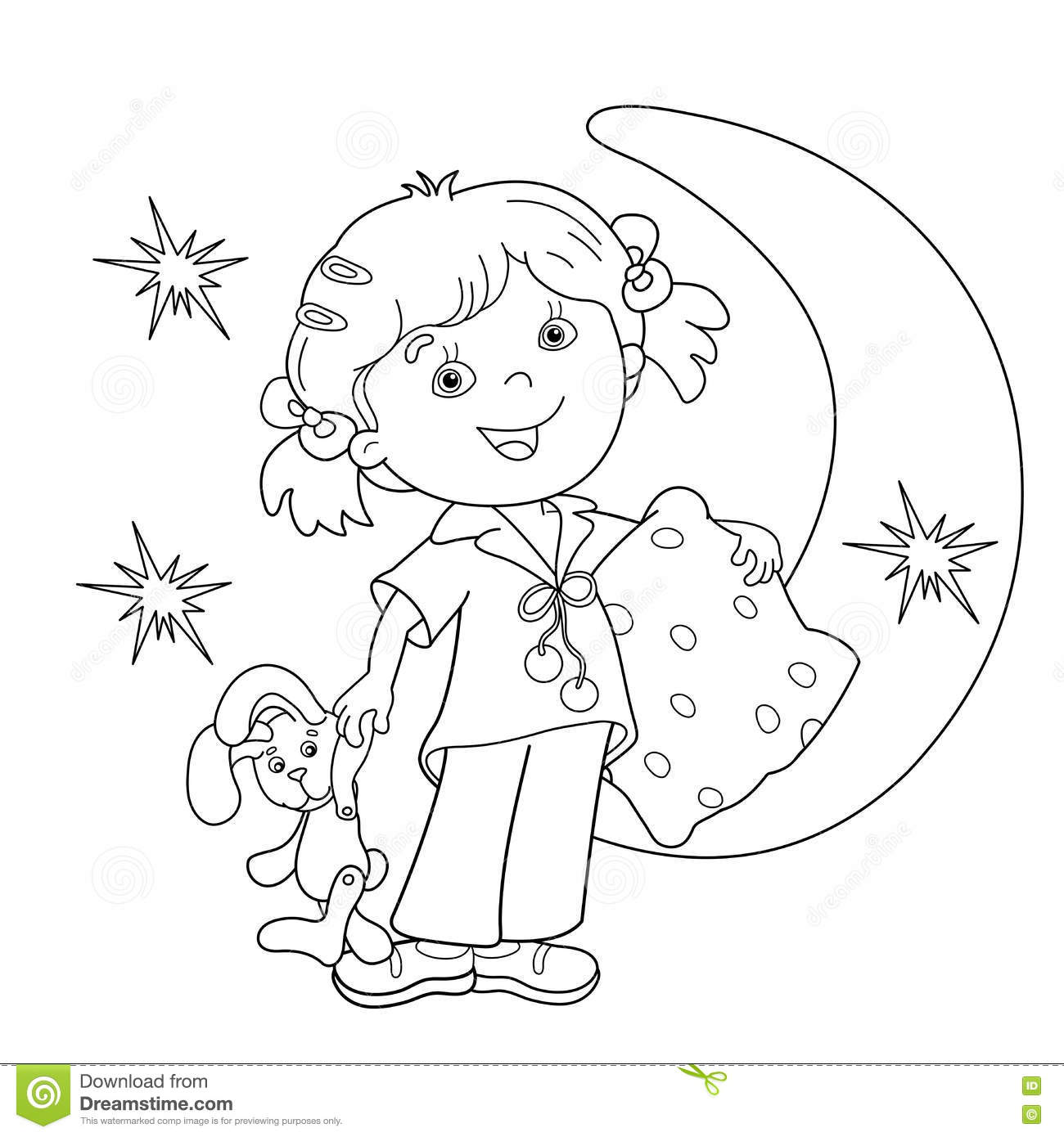 Coloring Page Outline Of Cartoon Girl In Pajamas With