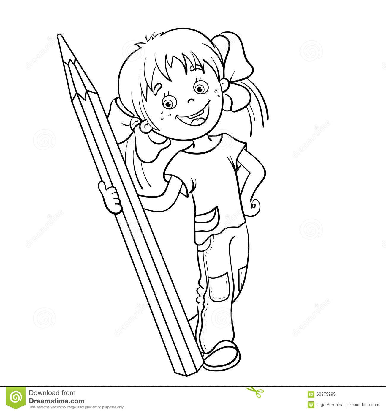 Coloring Page Outline Of A Cartoon Girl With Pencil Stock