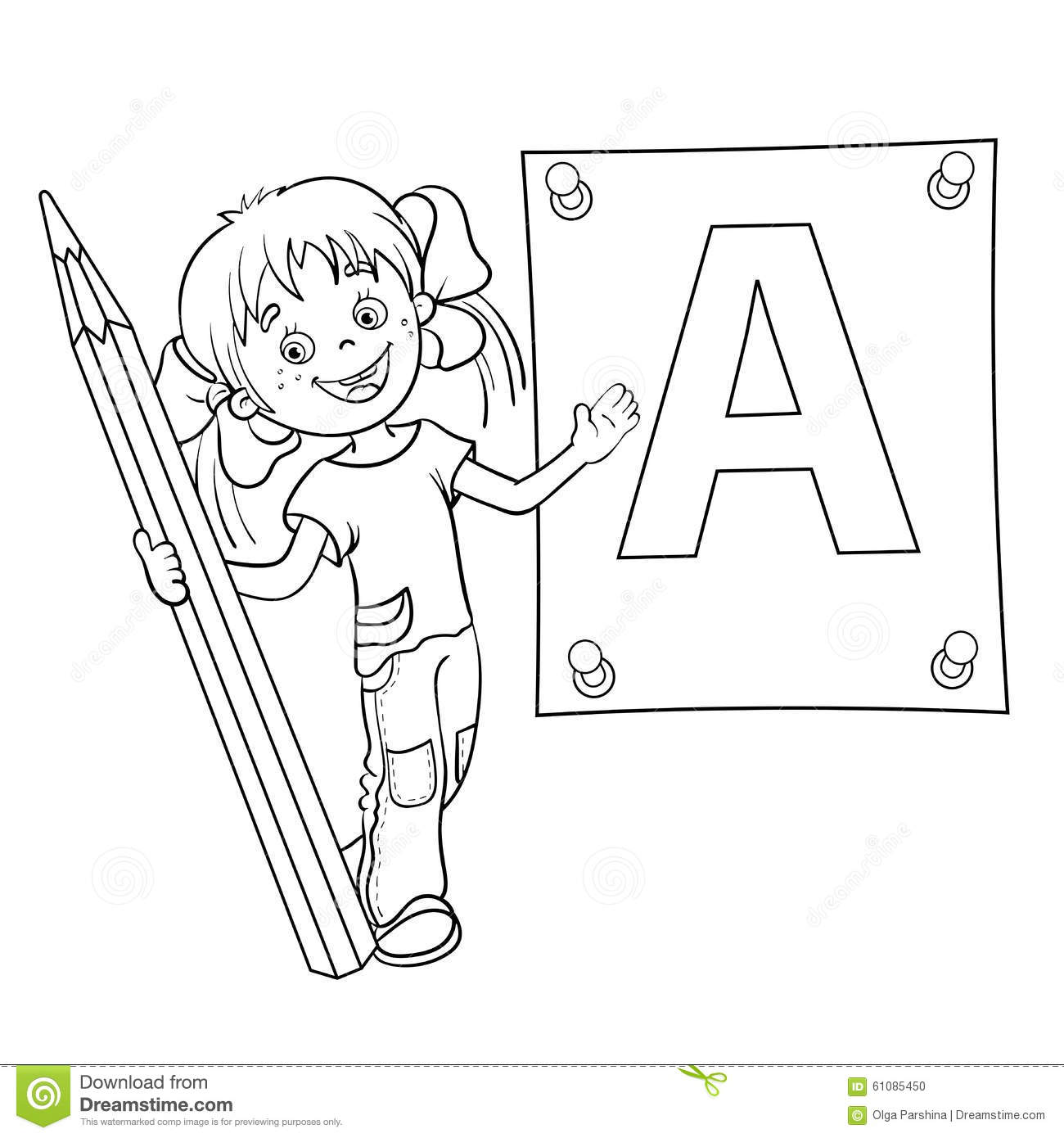 Coloring Page Outline Of A Cartoon Girl With Pencil And