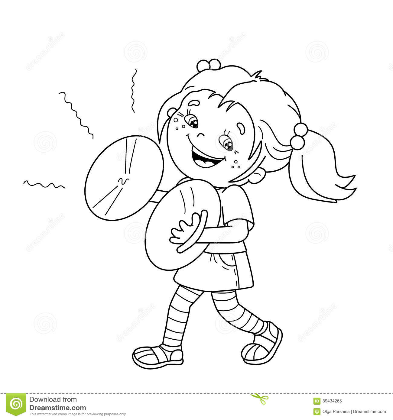 Coloring Page Outline Of Cartoon Girl Playing The Cymbals