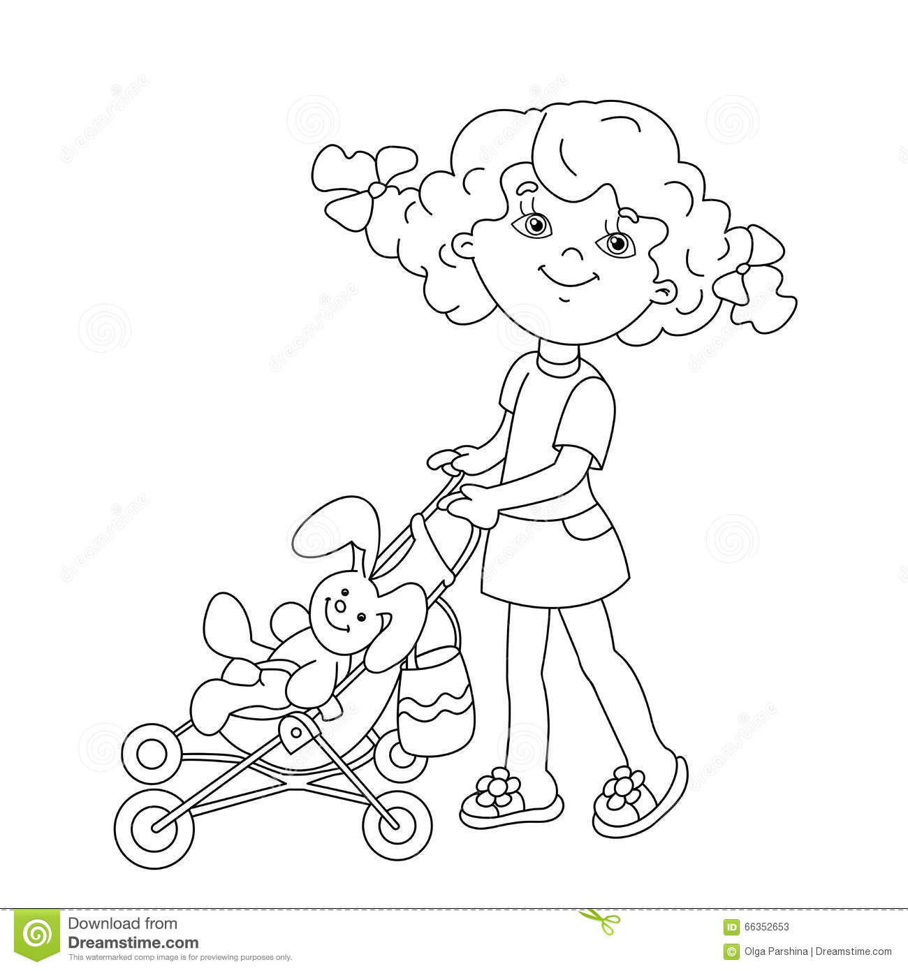 Coloring Page Outline Of Cartoon Girl Playing With Dolls With St Stock Vector