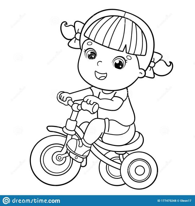 Riding Bike Coloring Page Stock Illustrations – 21 Riding Bike