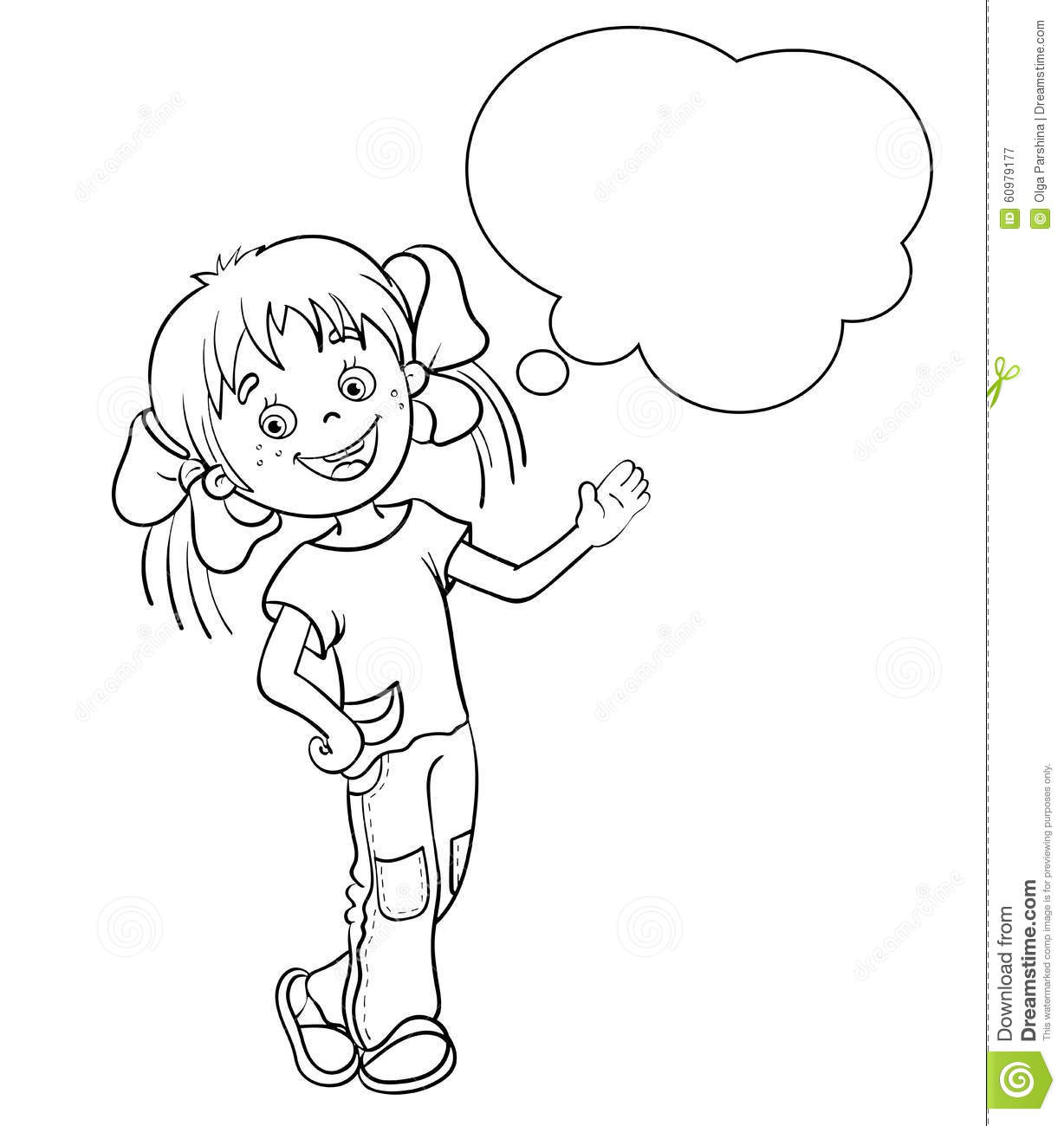 Coloring Page Outline Of A Cartoon Girl With Speech Bubble
