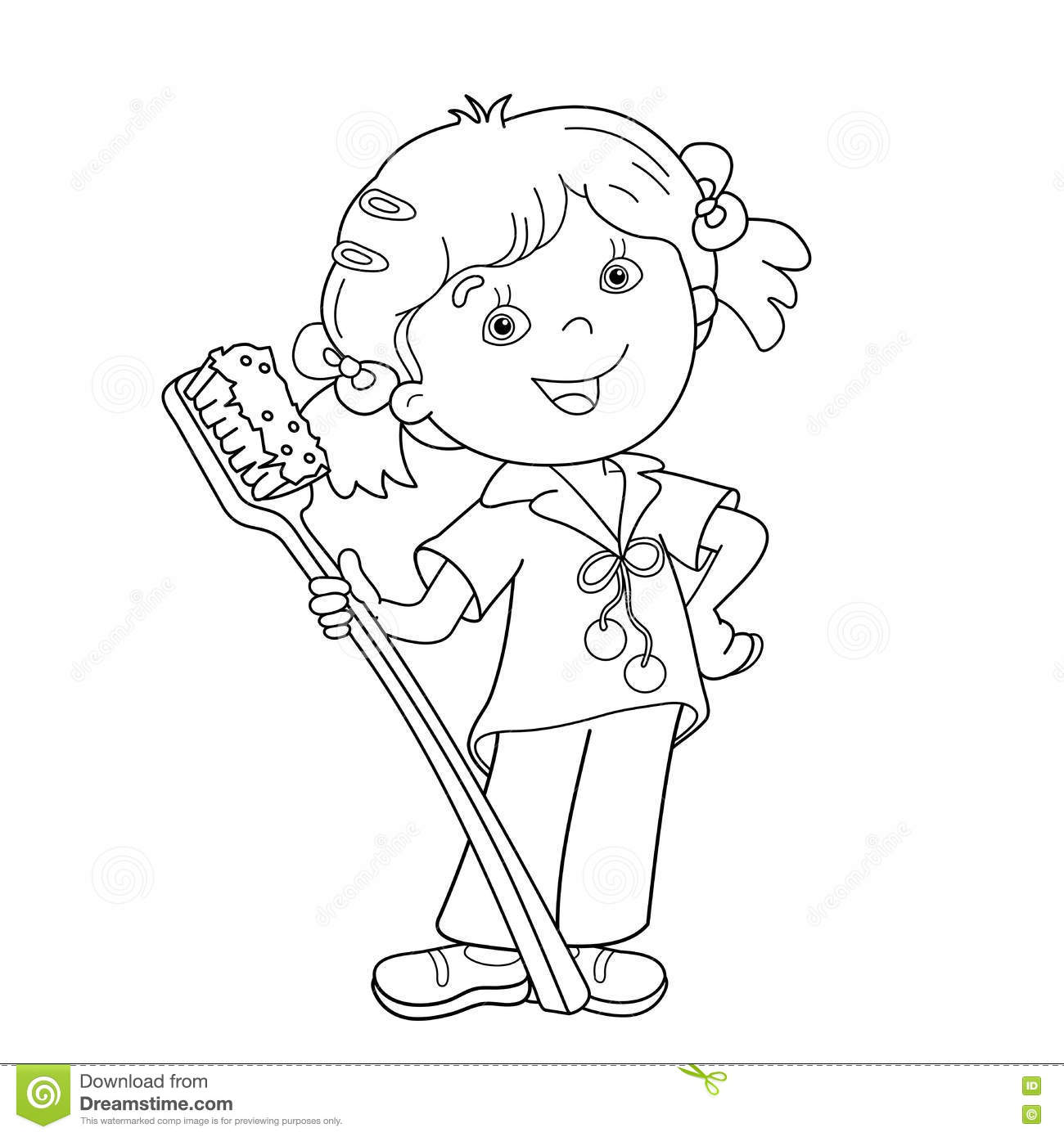Coloring Page Outline Of Cartoon Girl With Toothbrush
