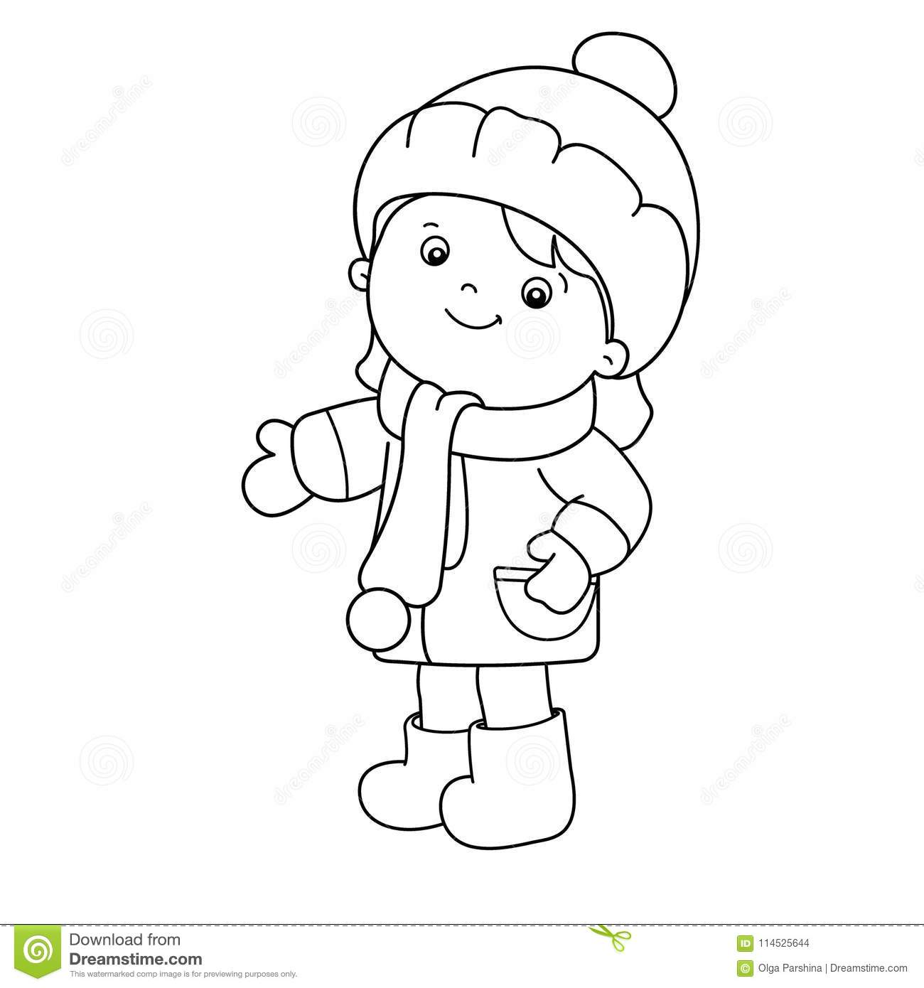 Coloring Page Outline Of Cartoon Girl Winter Coloring