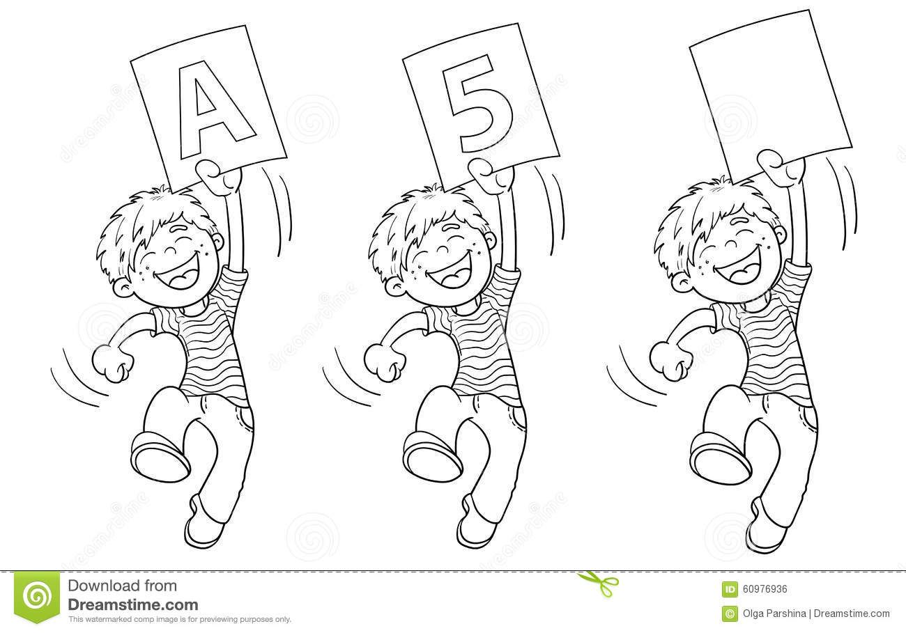 Coloring Page Outline Of A Cartoon Jumping Boy With
