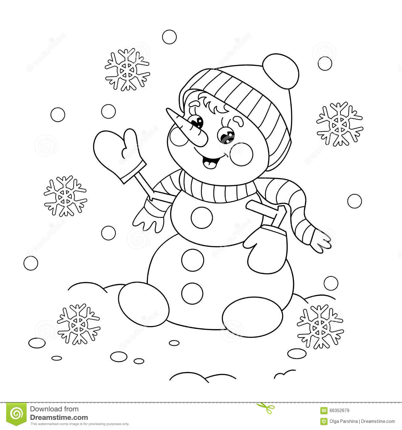 Snowman Coloring Outline Coloring Pages