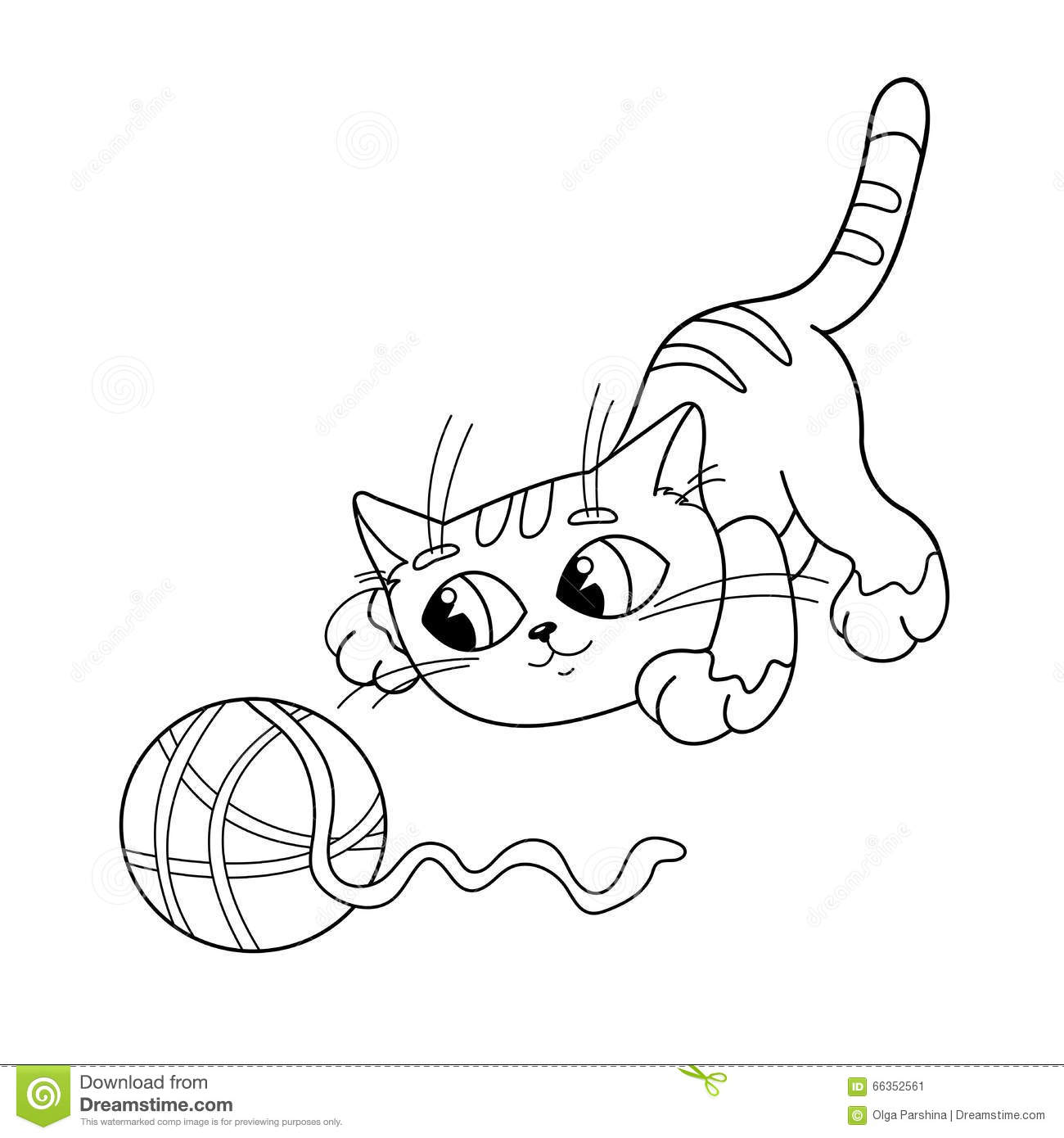 Coloring Page Outline Of Cat Playing With Ball Of Yarn