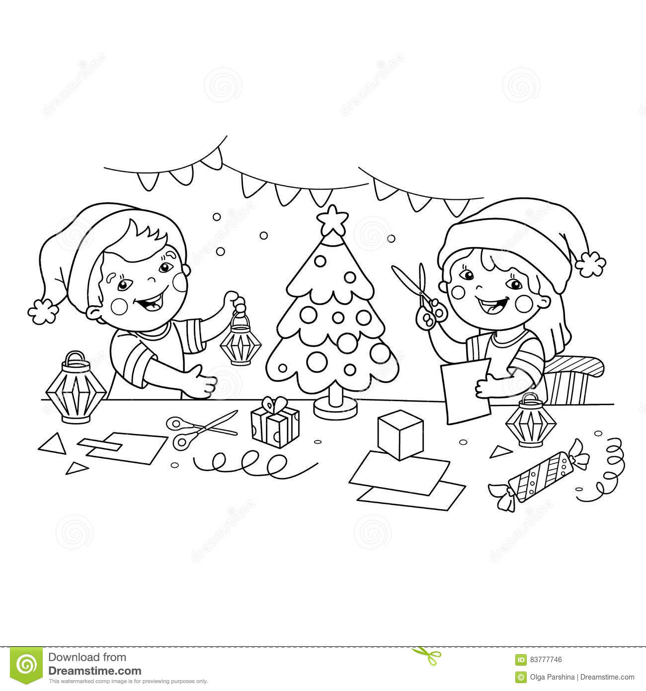 Coloring Page Outline Of Children Make Paper Christmas