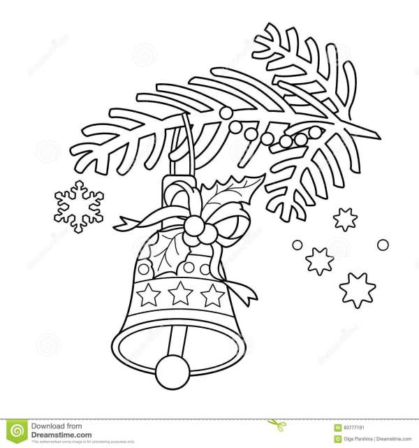 Coloring Page Outline Of Christmas Bell. Tree Branch. Stock Vector - Illustration