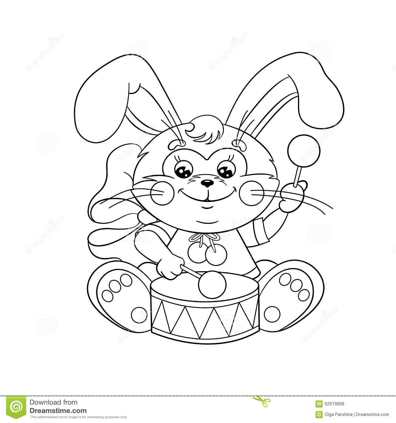 Coloring Page Outline Of A Cute Bunny With A Drum Stock