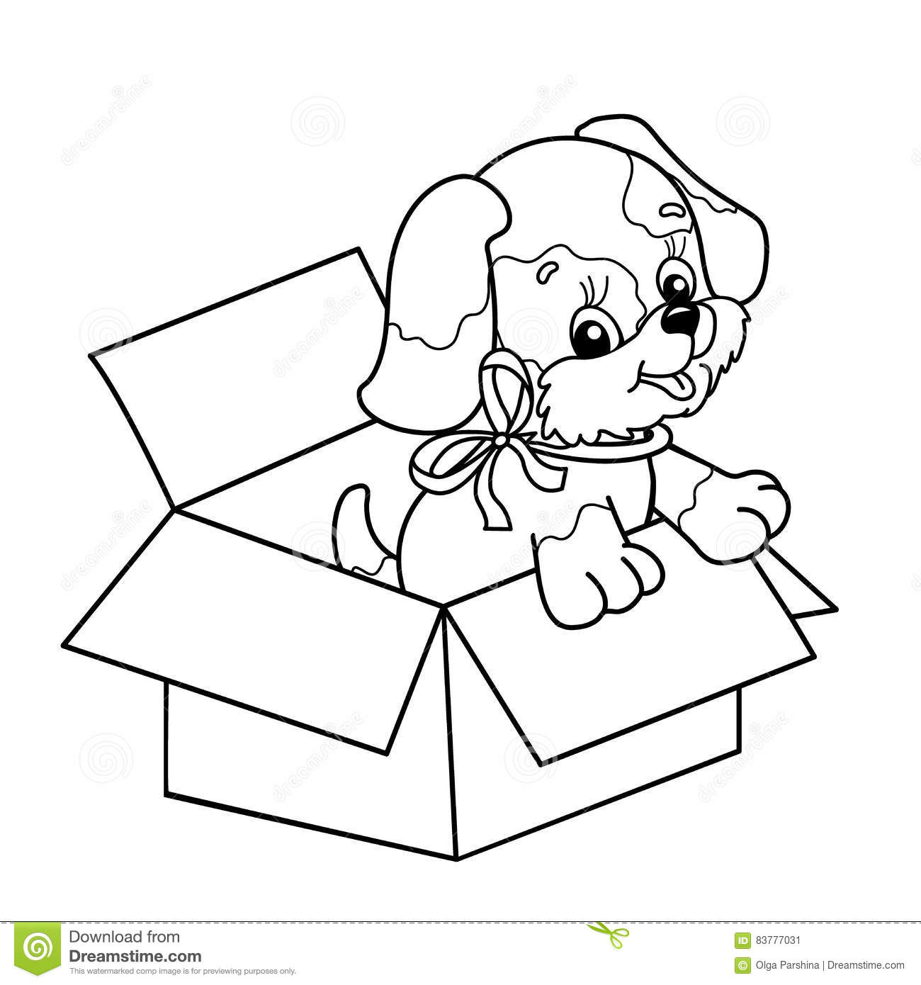 Coloring Page Outline Of Cute Puppy In Box. Cartoon Dog