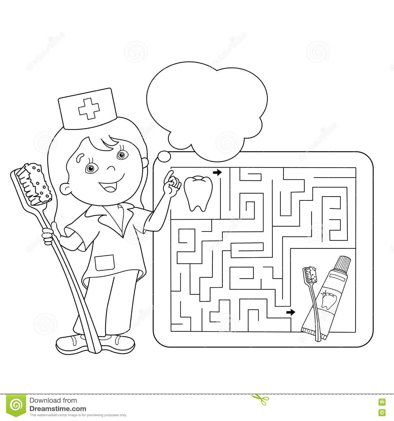 Coloring Page Outline Of Doctor With Toothbrush And