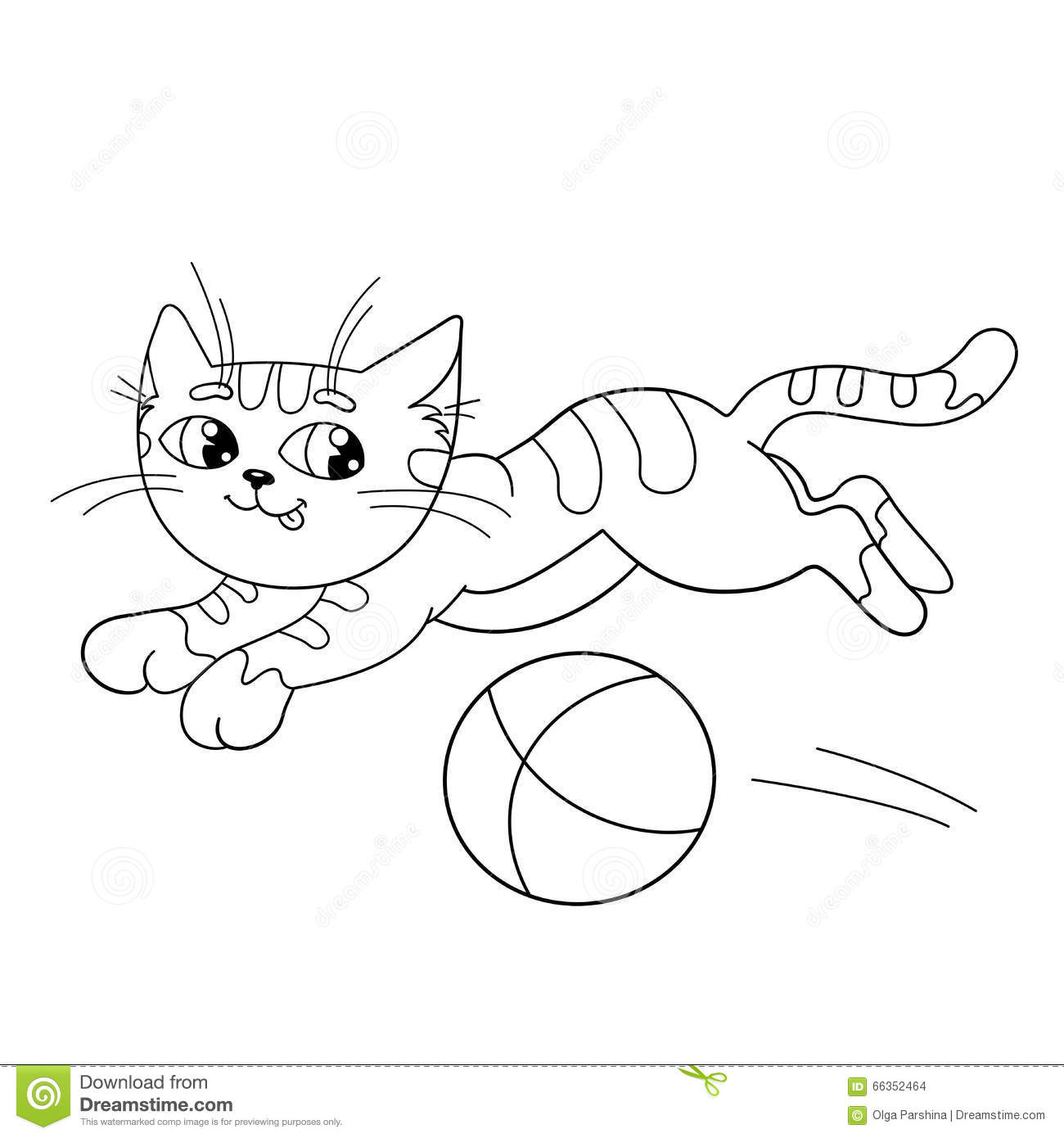 Coloring Page Outline Of A Fluffy Cat Playing With Ball