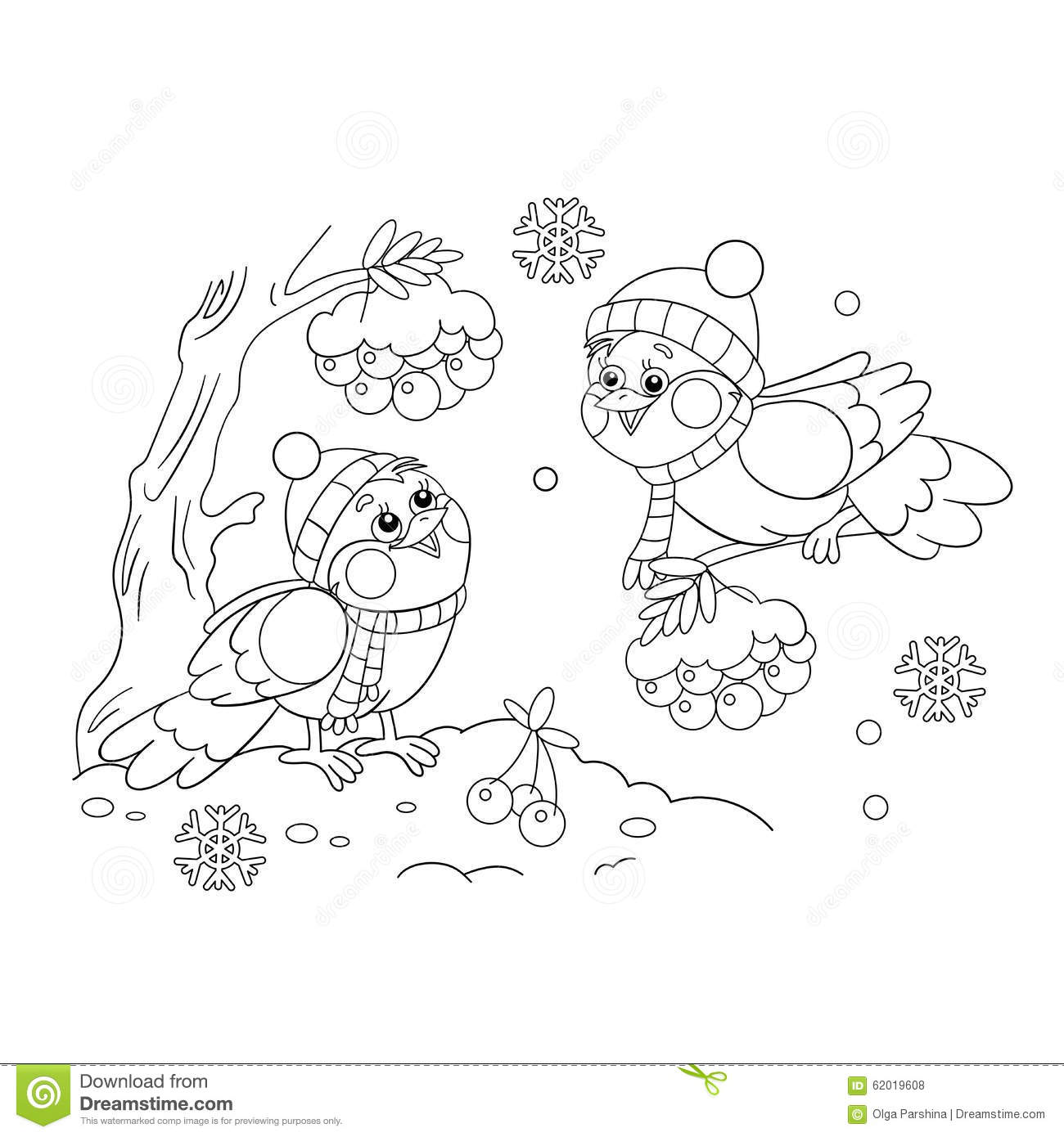 Coloring Page Outline Of Funny Birds In Winter Stock