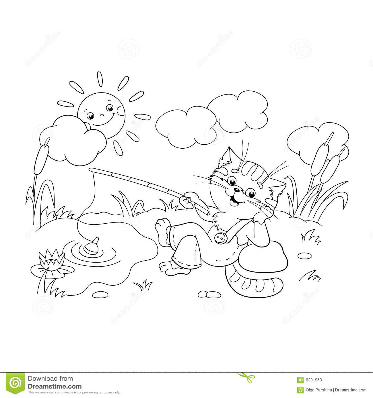 Coloring Page Outline Of A Funny Cat Catching A Fish Stock