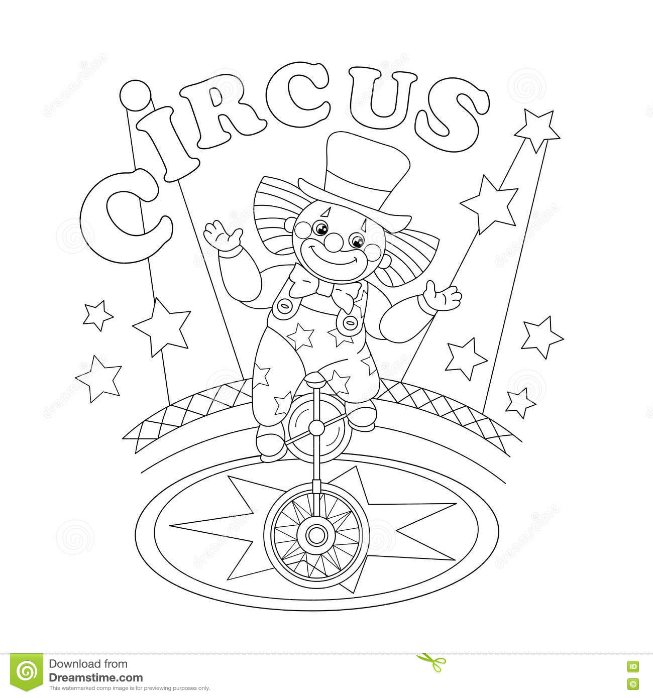 Coloring Page Outline Of A Funny Clown Stock Vector