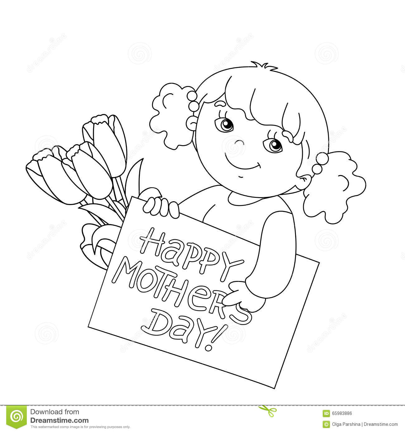Coloring Page Outline Of Girl With Card For Mother S Day