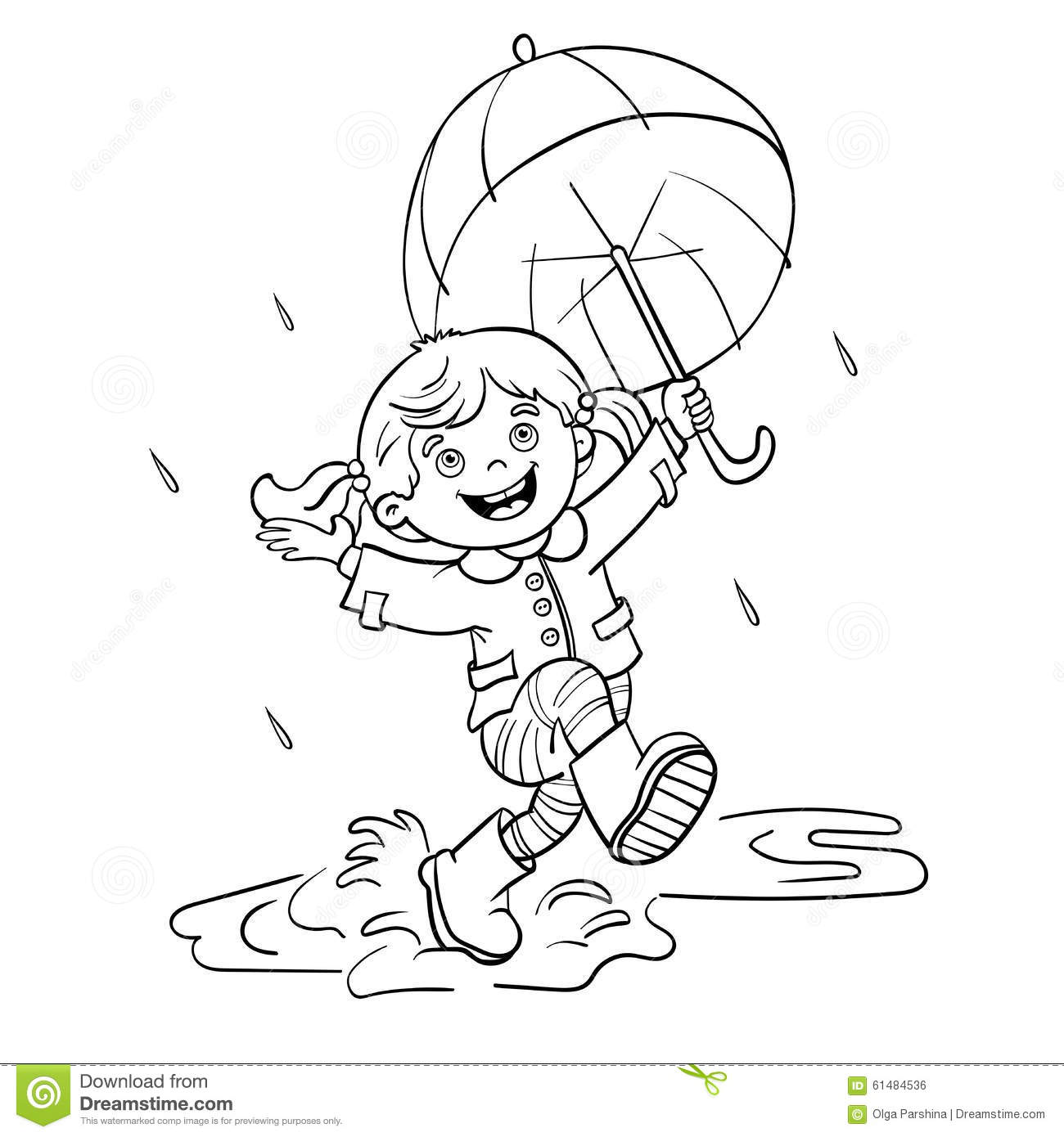 Coloring Page Outline Of A Girl Jumping In The Rain Stock