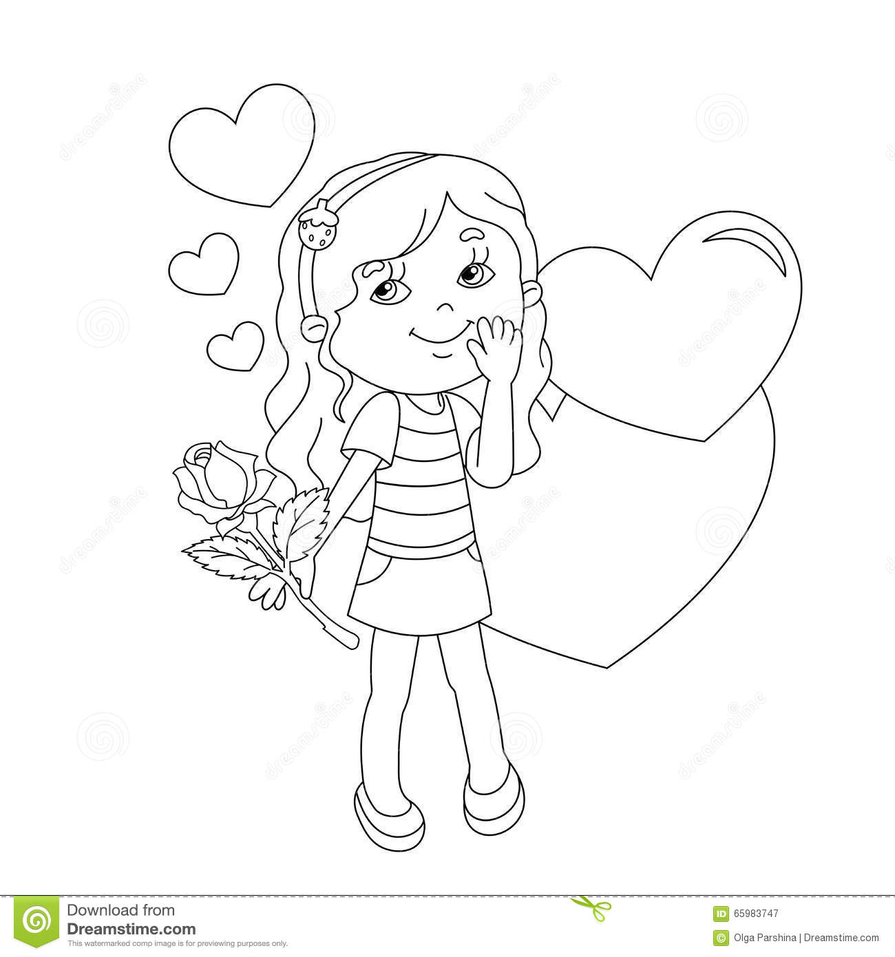 Coloring Page Outline Of Girl With Rose And With Hearts