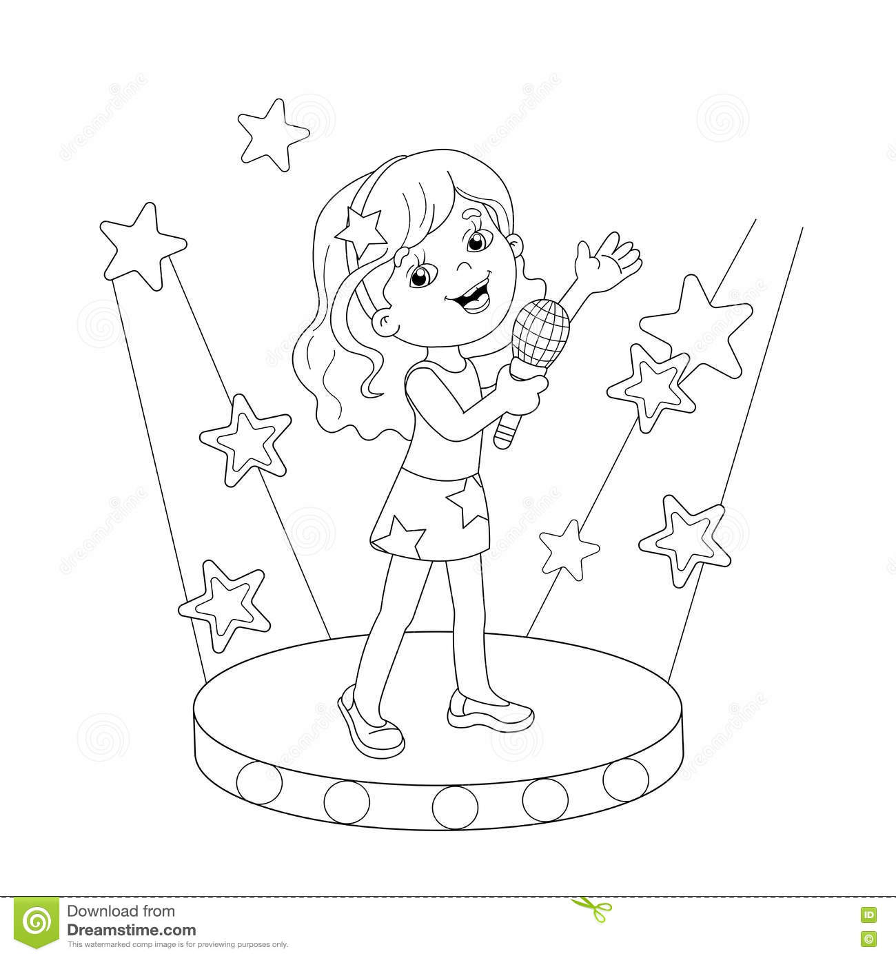 Coloring Page Outline Of Girl Singing A Song On Stage
