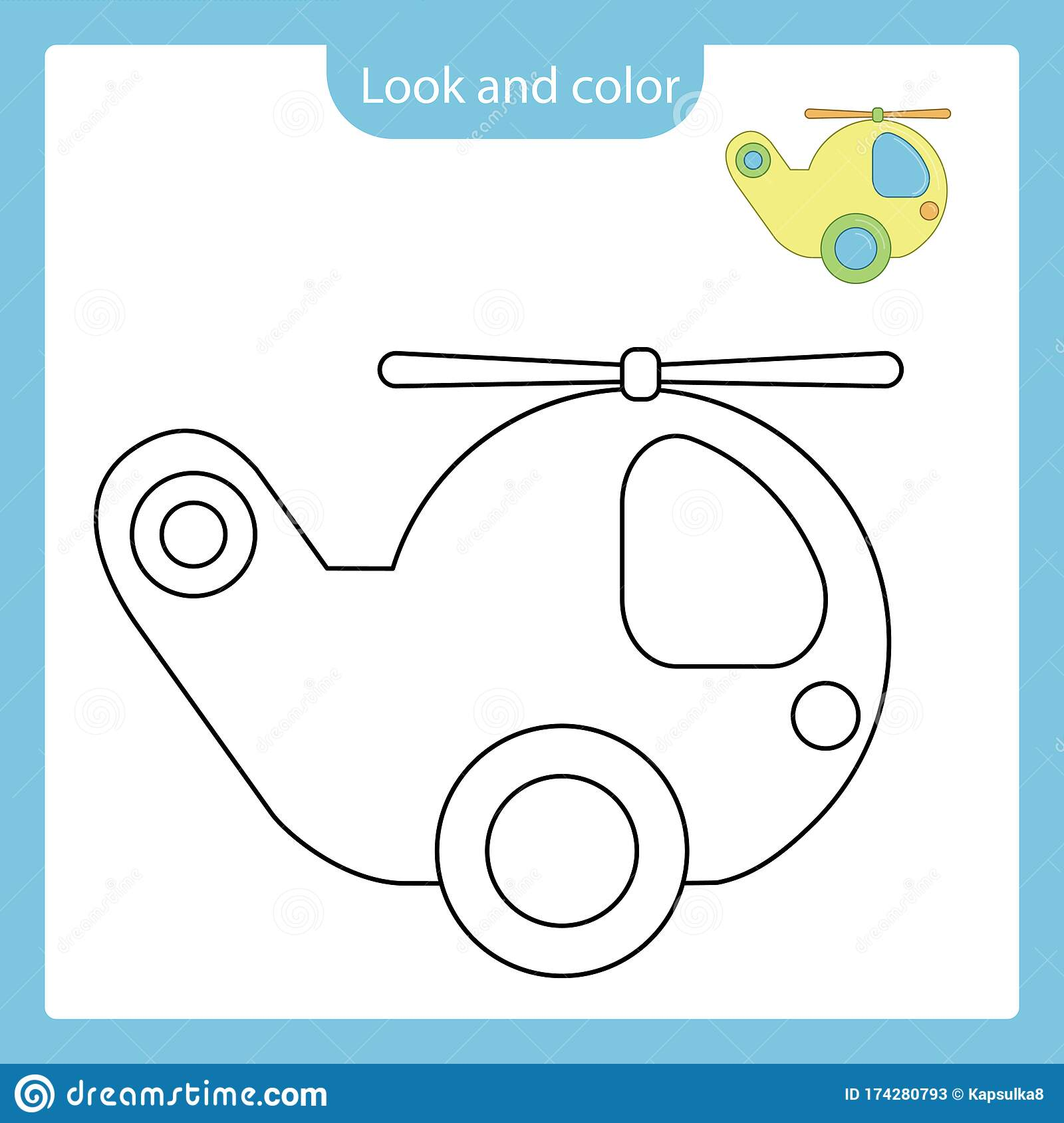 Coloring Page Outline Of Helicopter Toy With Example Stock
