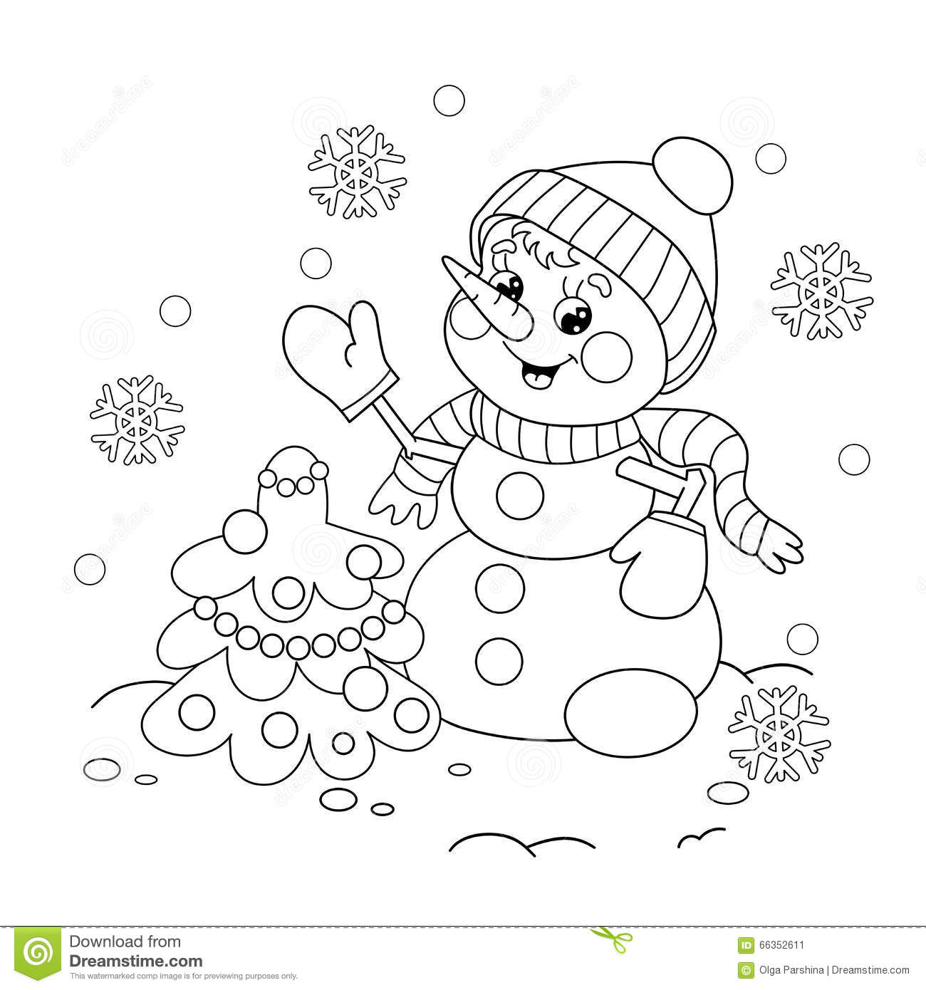 Coloring Page Outline Of Snowman With Christmas Tree Stock