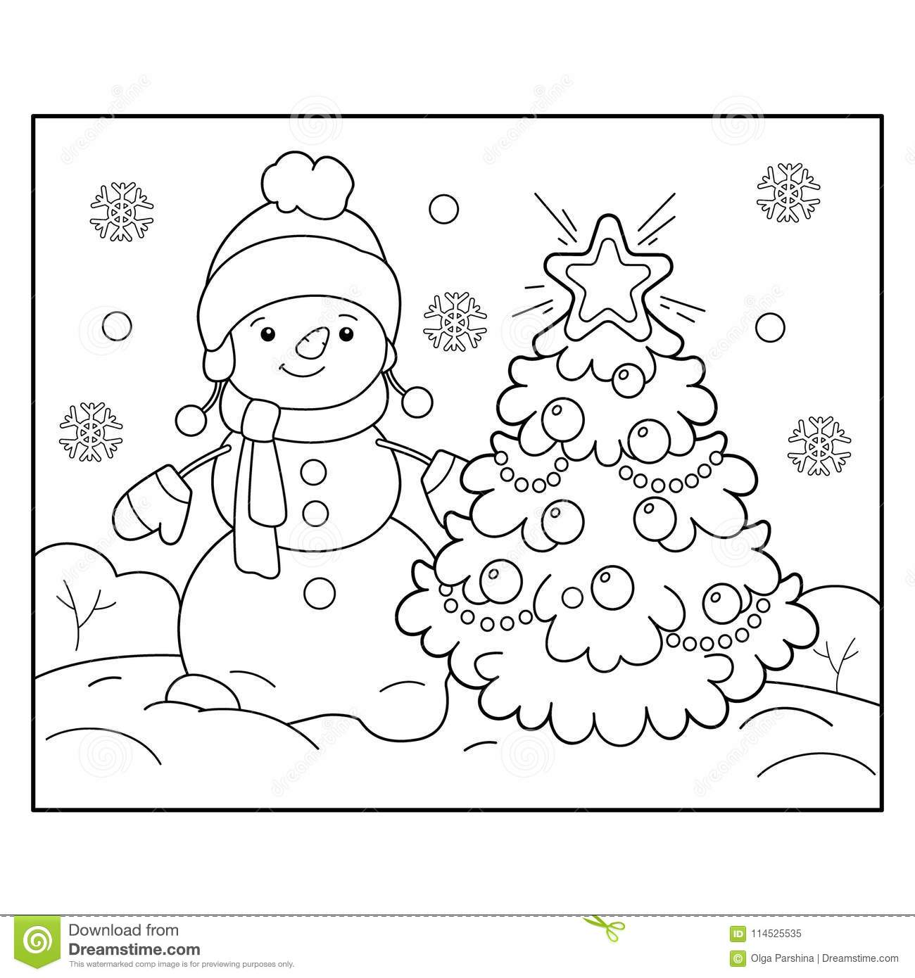 Coloring Page Outline Of Snowman With Christmas Tree