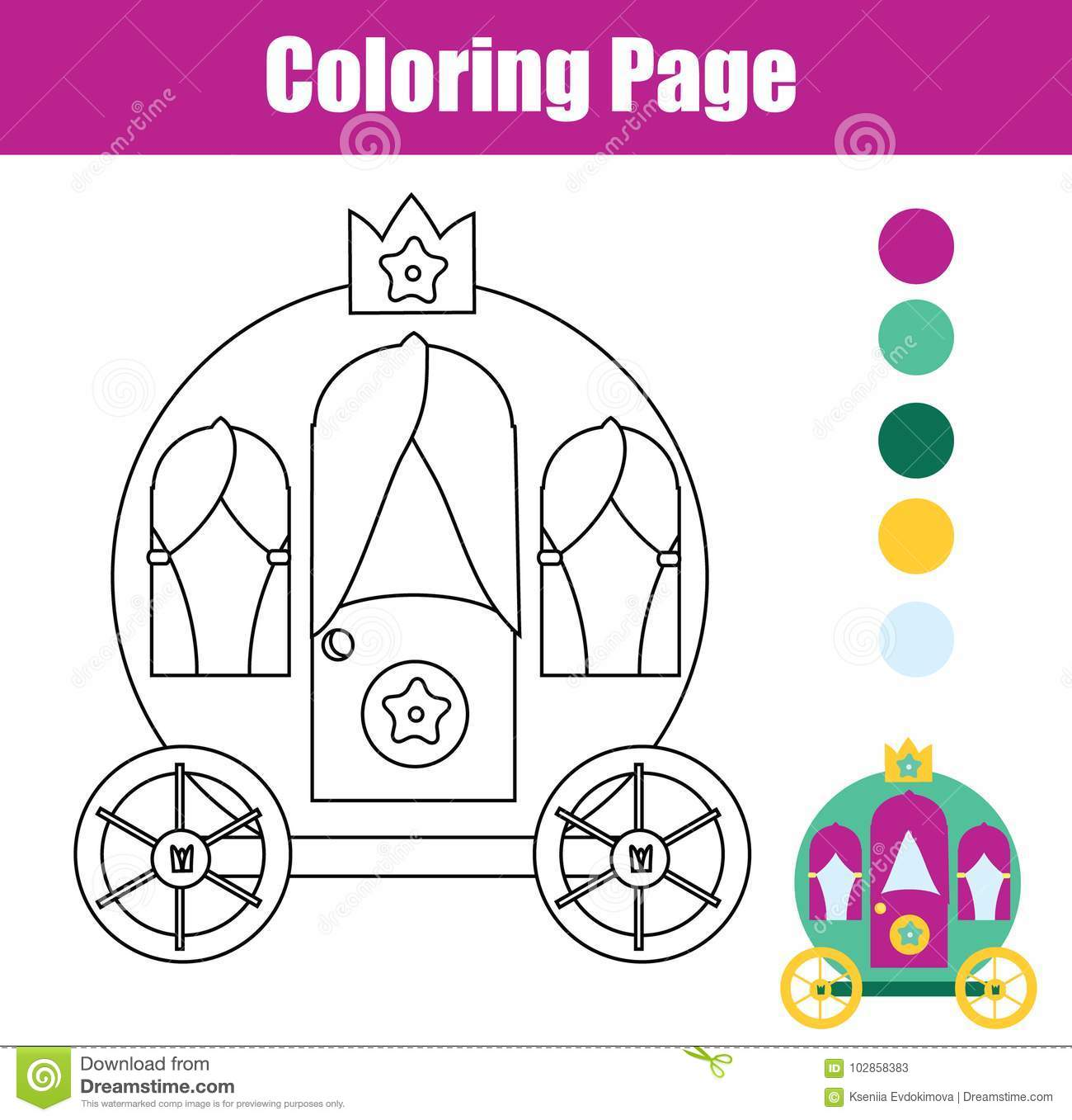 Coloring Page With Princess Carriage Drawing Kids Game