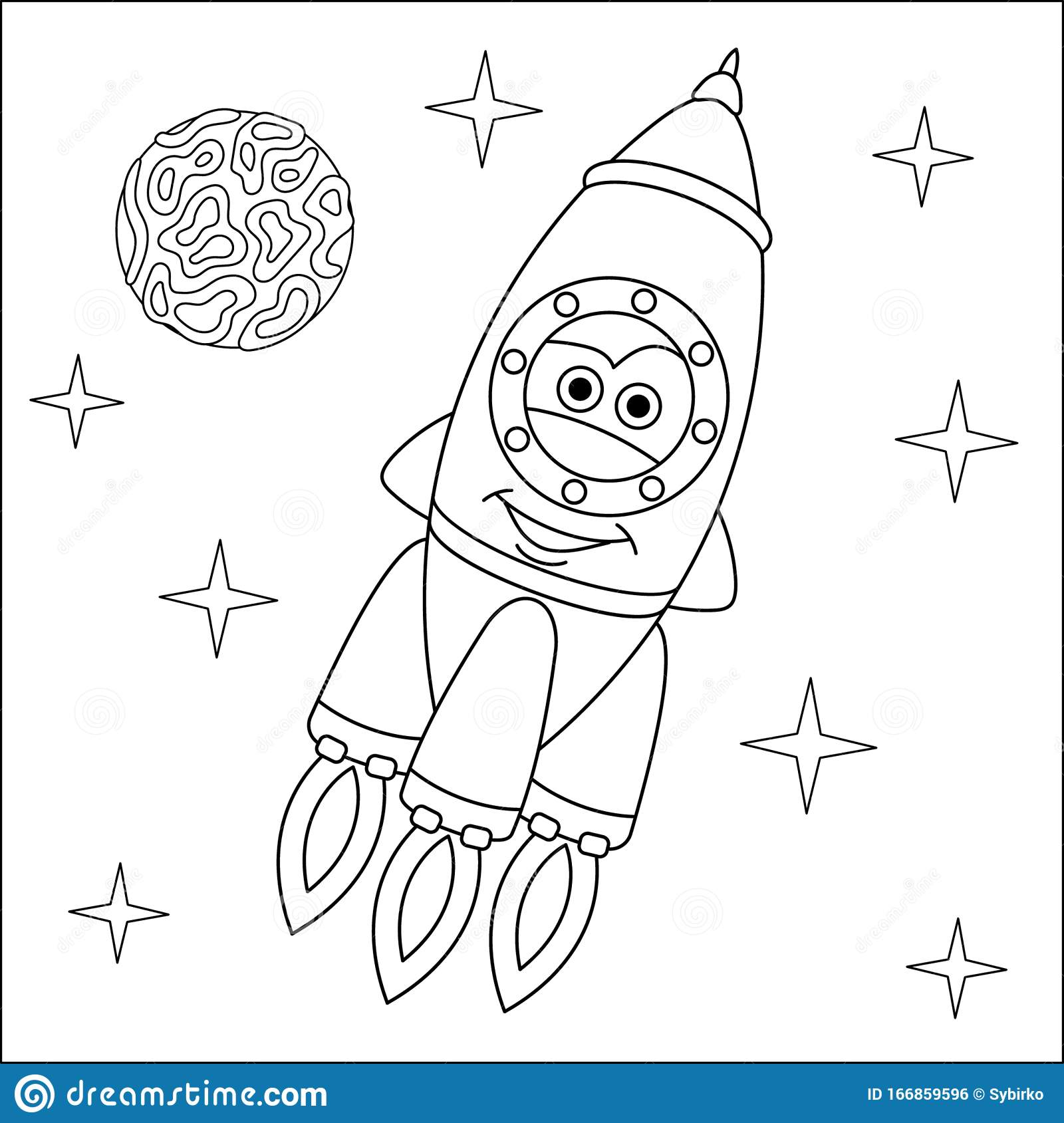 Coloring Page With Rocket Ship Stock Vector