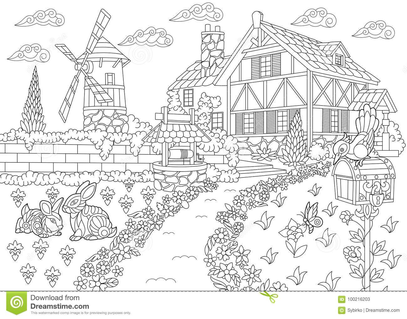 Zentangle Stylized Countryside Mansion Stock Vector