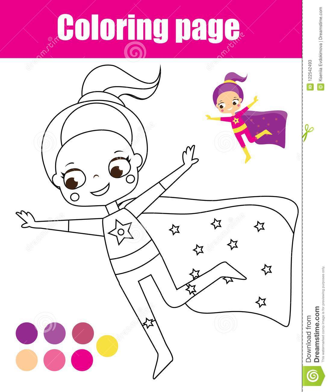 Coloring Page With Superhero Girl Drawing Kids Activity