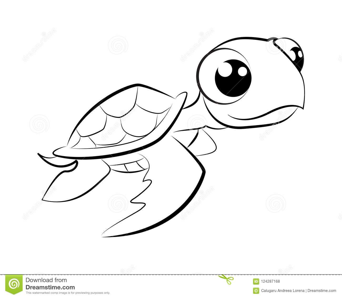 Coloring Page Turtle Illustration Stock Vector