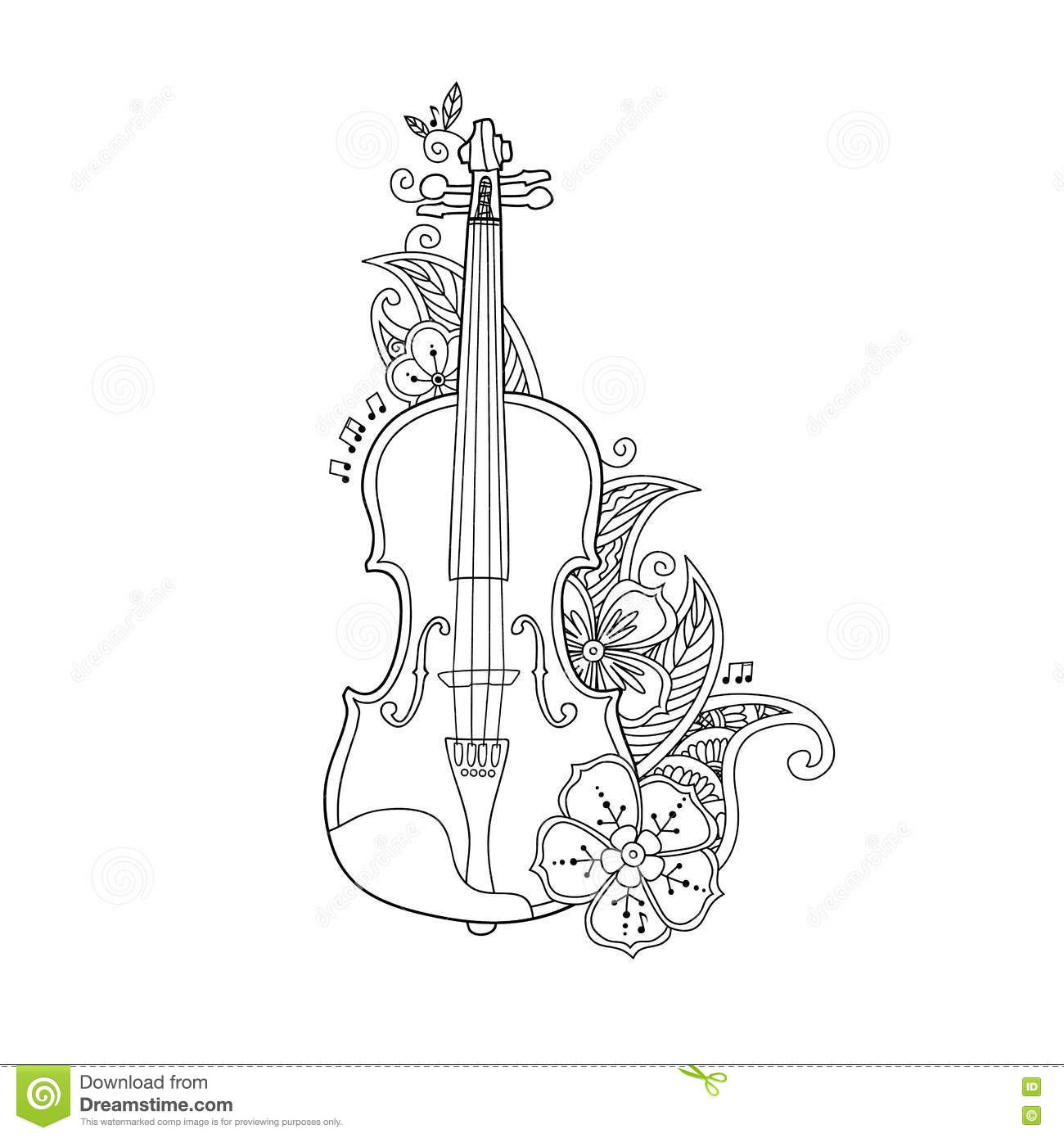Coloring Page Violin With Flowers And Leafs Stock Vector