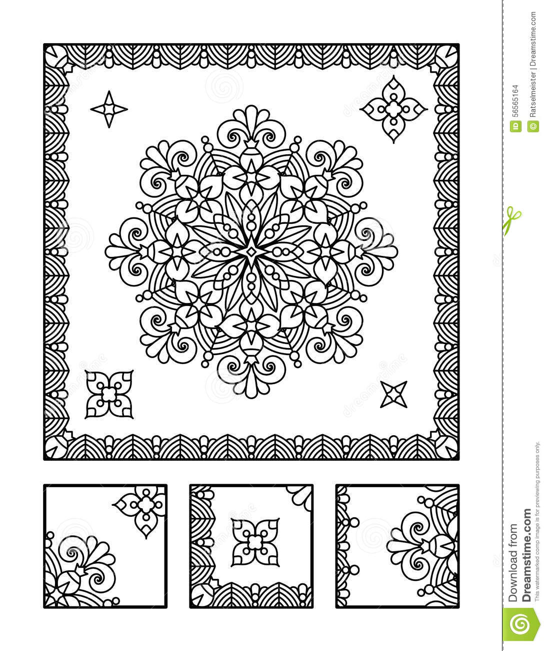 Coloring Page And Visual Puzzle For Adults Stock
