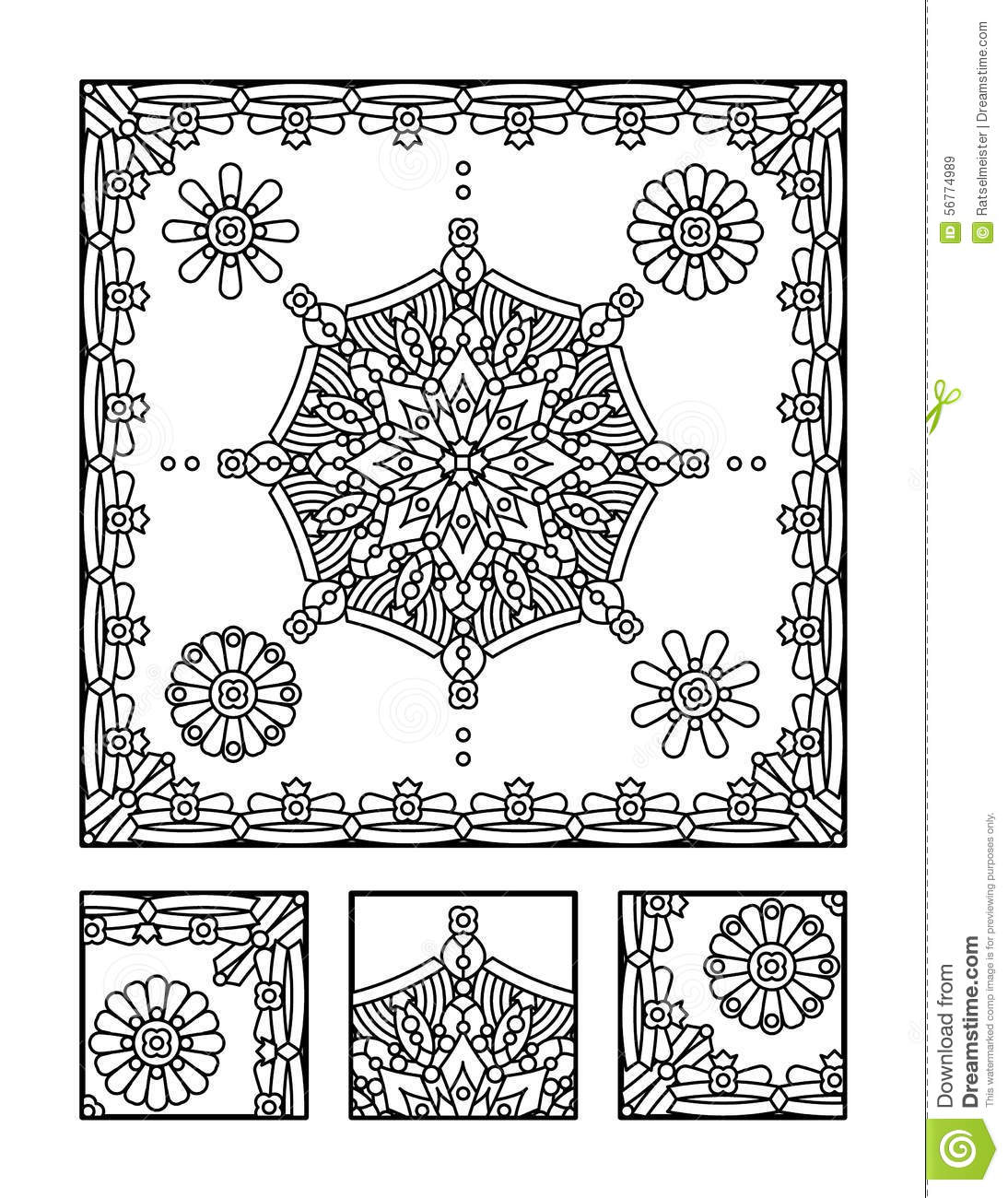 Coloring Page And Visual Puzzle For Adults Cartoon Vector