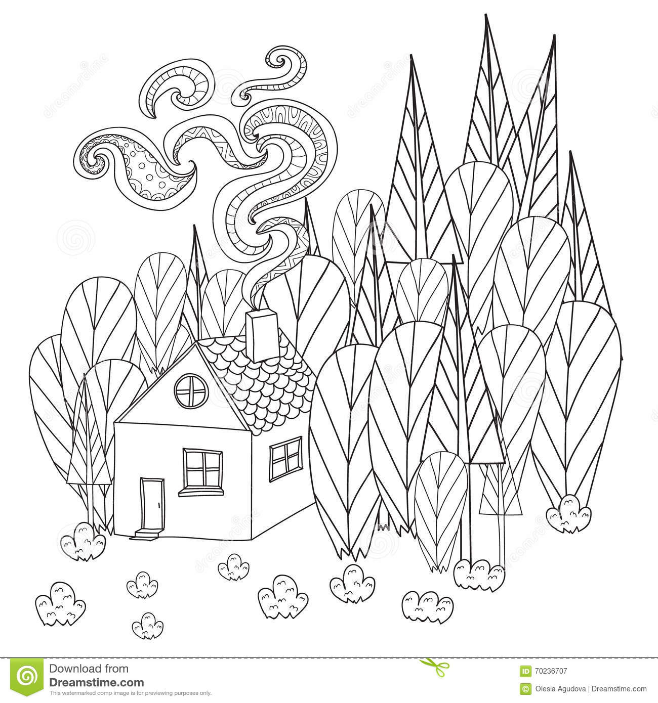 Coloring Pages For Adults And Children Book. Cartoon House