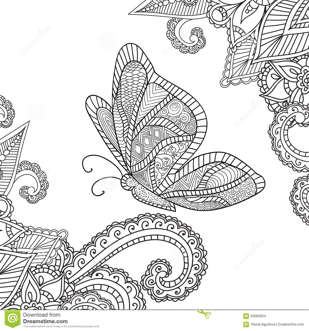 Coloring Pages For Adults.Henna Mehndi Doodles Abstract