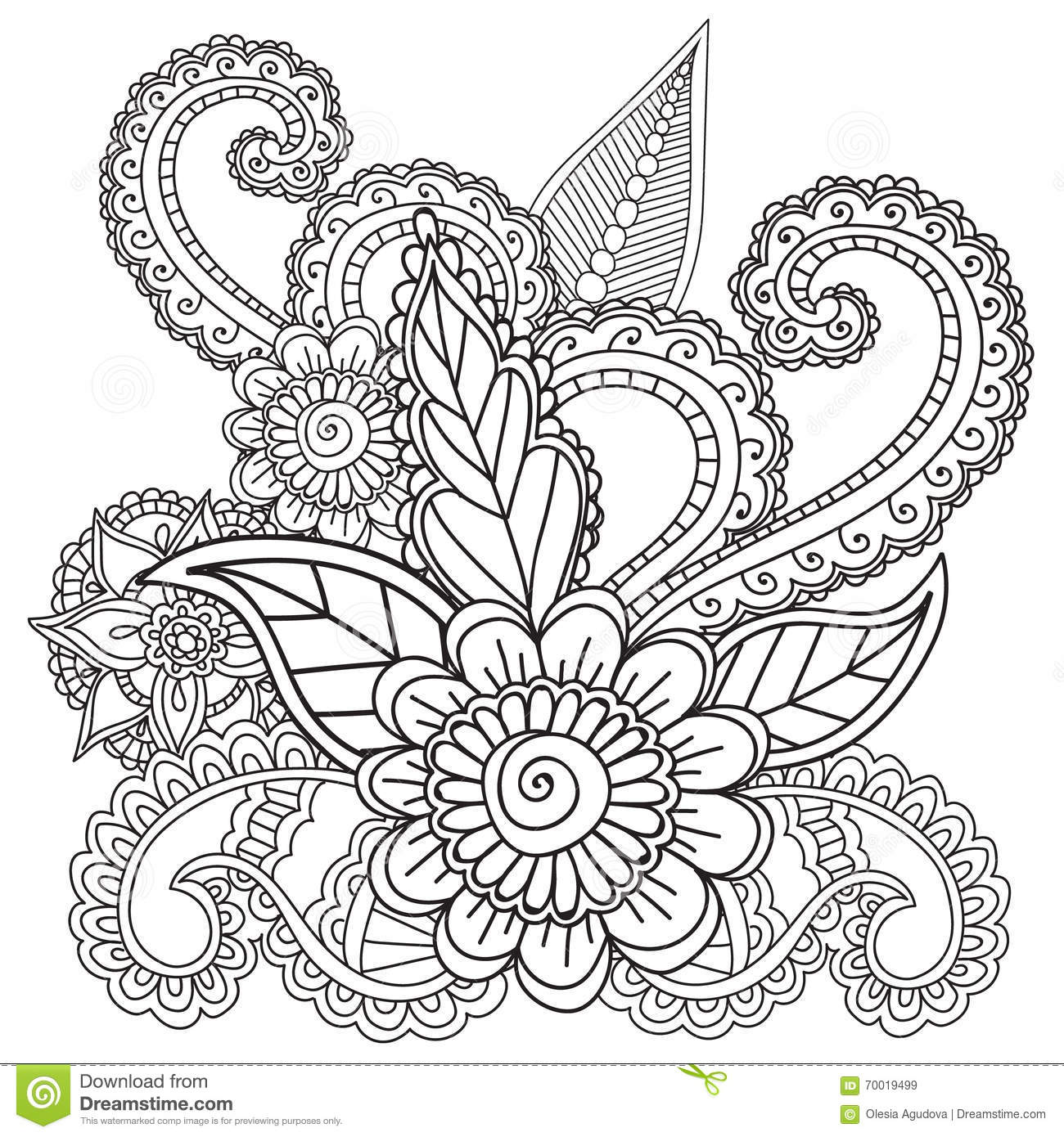 Coloring Pages For Adults Henna Mehndi Doodles Abstract