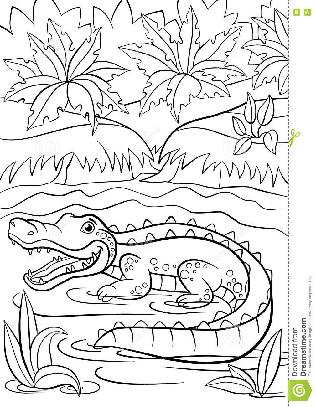 Coloring Pages. Animals. Little Cute Alligator Sits In The
