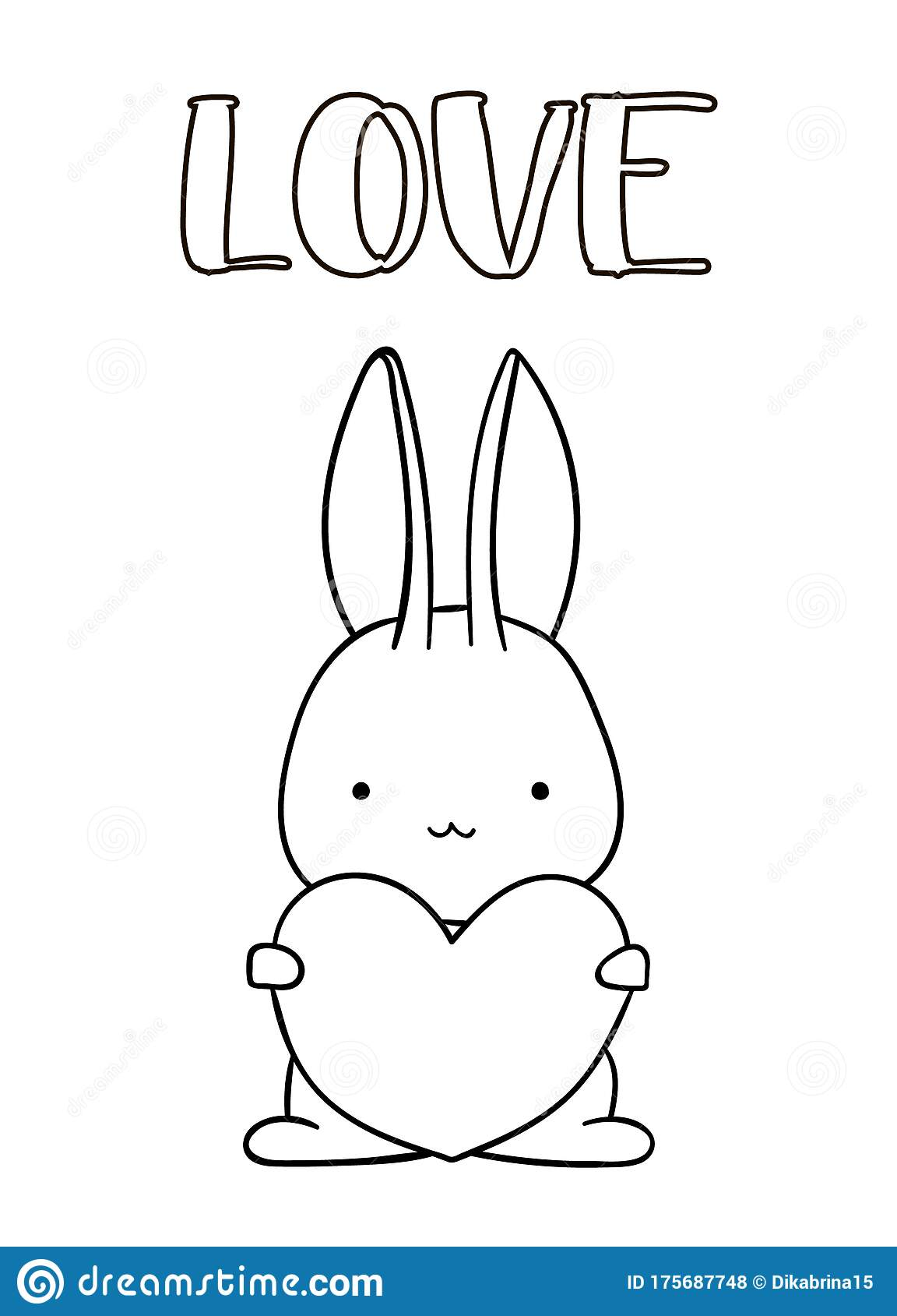 Coloring Pages Black And White Cute Hand Drawn Bunny With Heart Doodle Lettering Love Stock Vector Illustration Of Love Outline 175687748