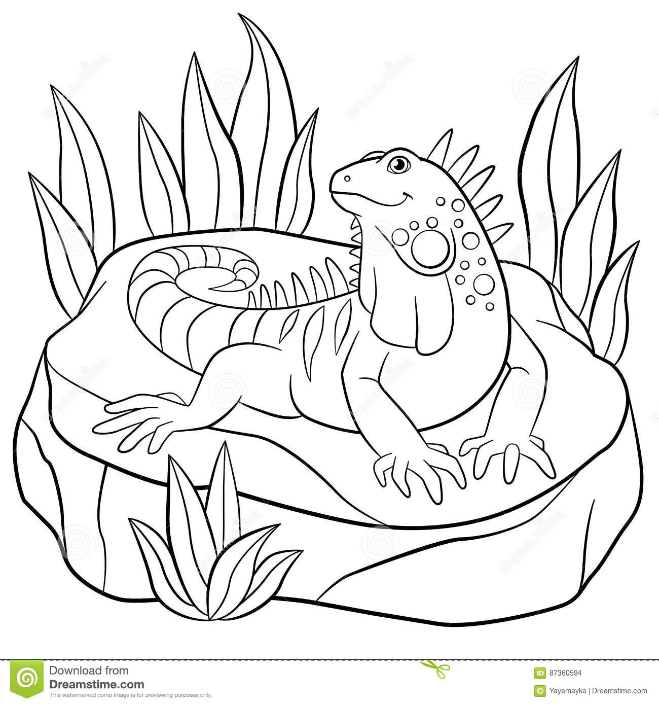 Coloring Pages. Cute Iguana Sits On The Rock. Stock Vector