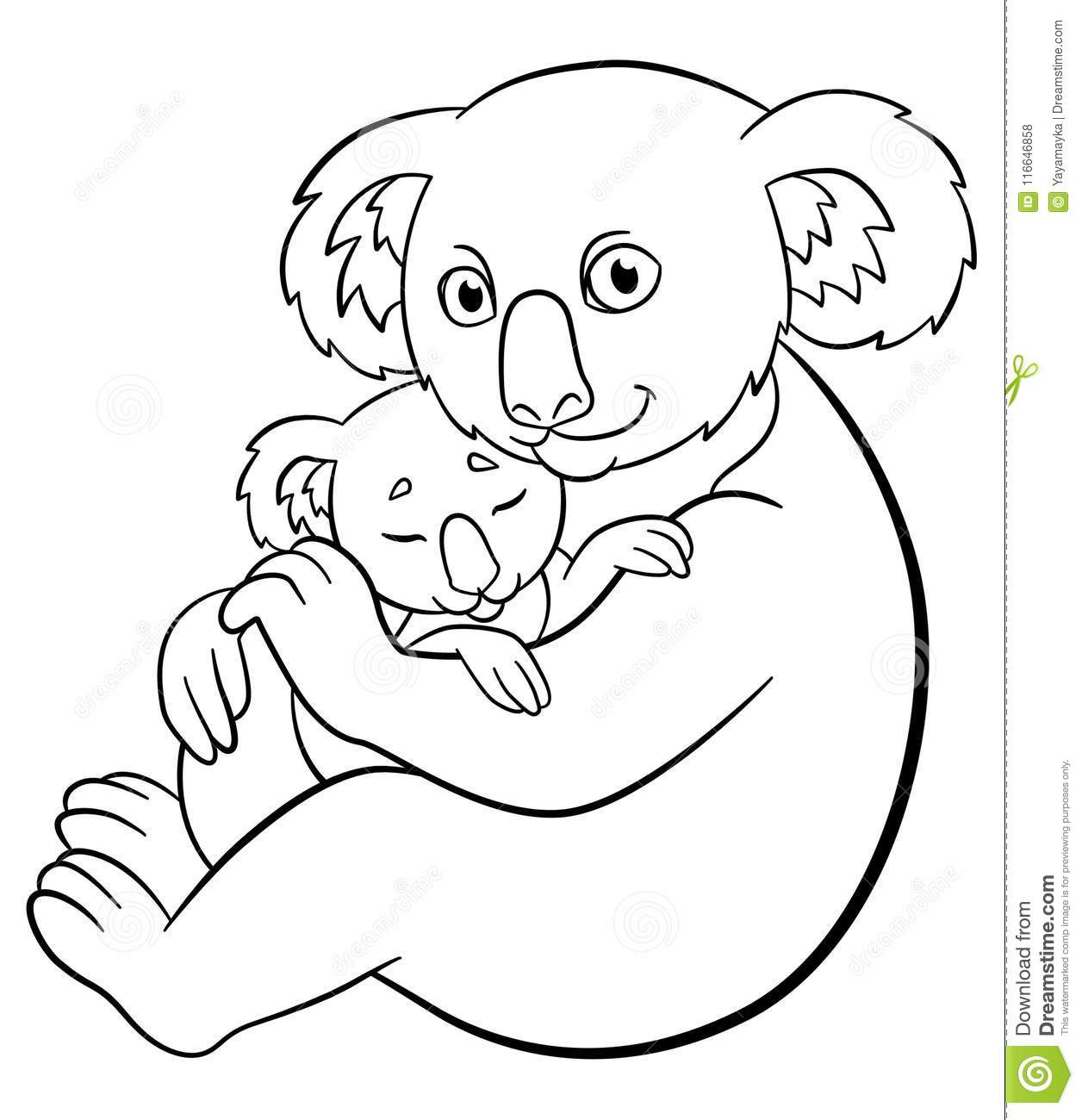 Coloring Pages Mother Koala With Her Cute Sleeping Baby Stock Vector