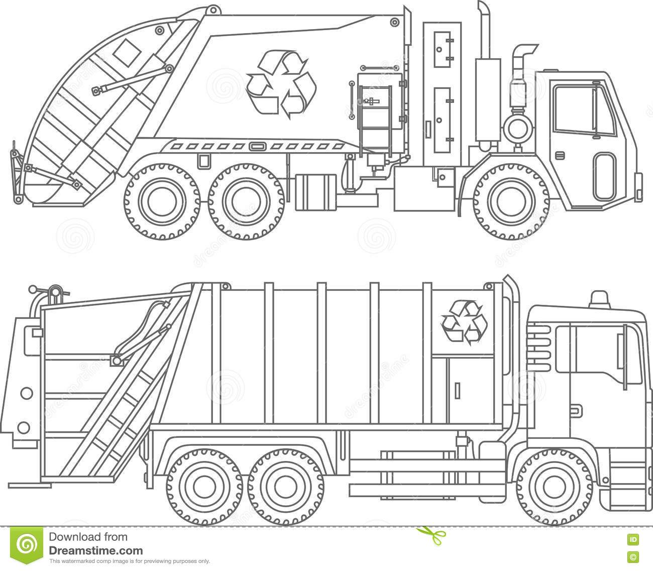Coloring Pages Set Of Different Kind Garbage Trucks Flat