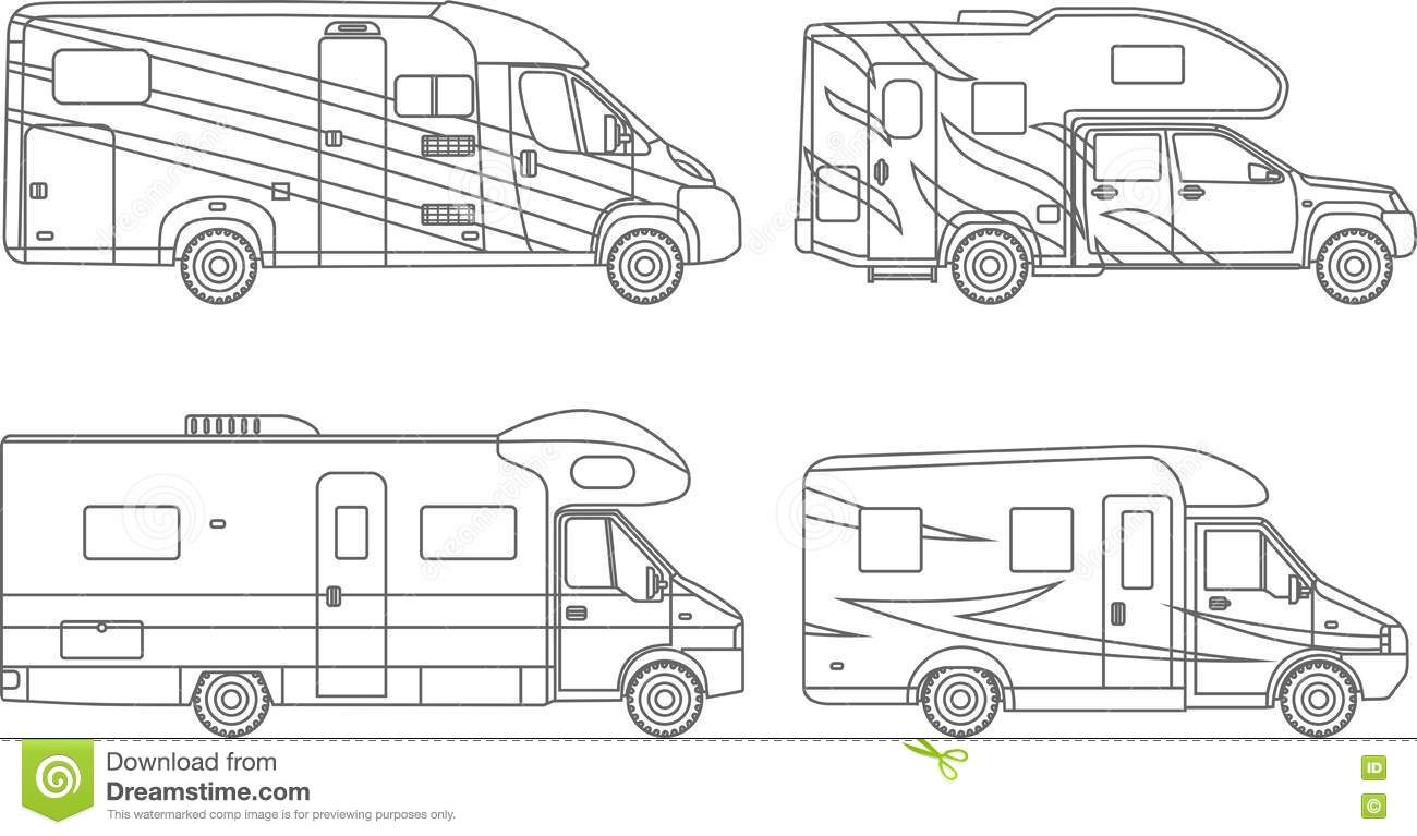 Coloring Pages. Set Of Different Silhouettes Car, Travel